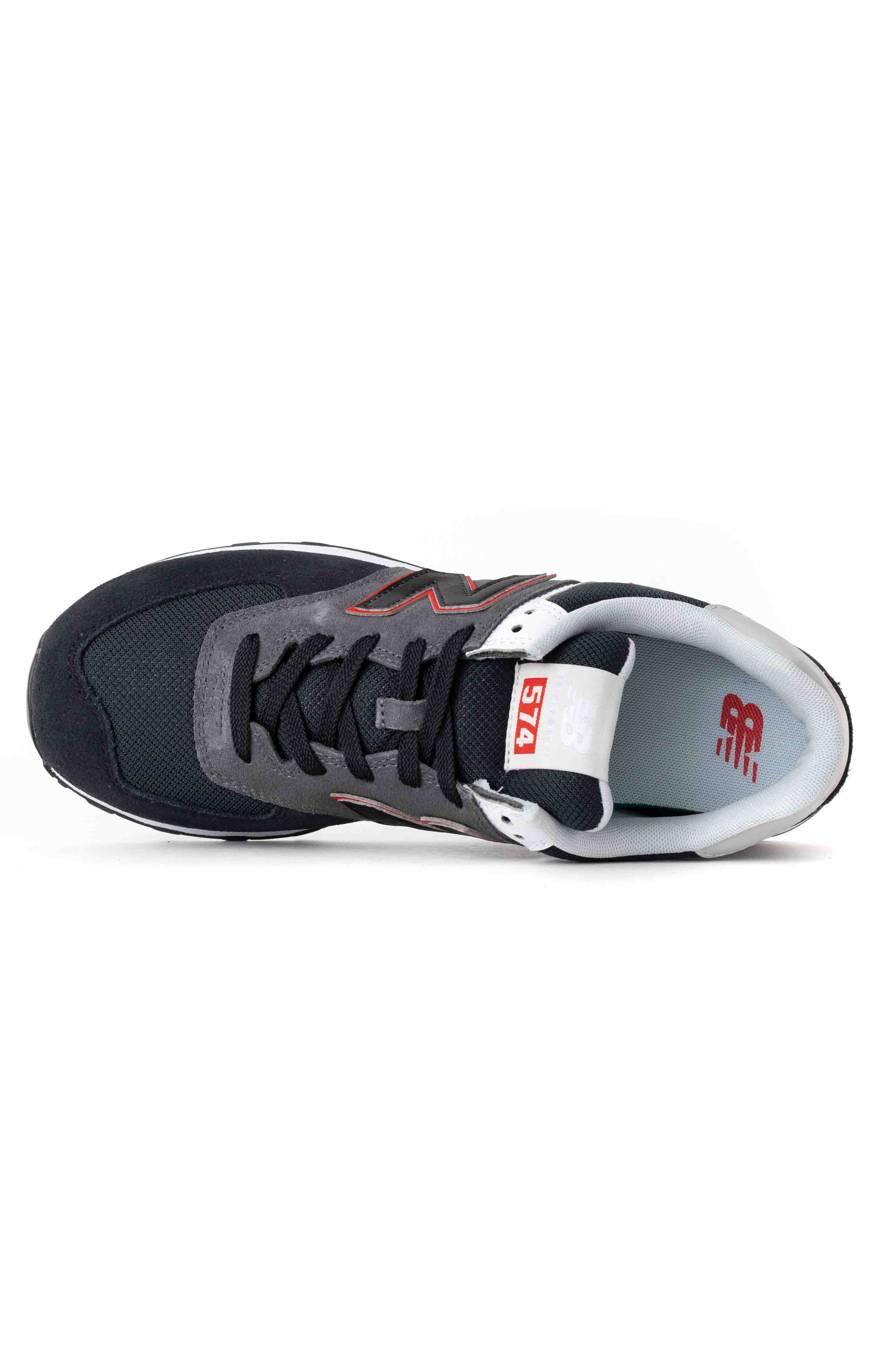 (ML574SM2) 574 Shoes - Black/Velocity Red 2