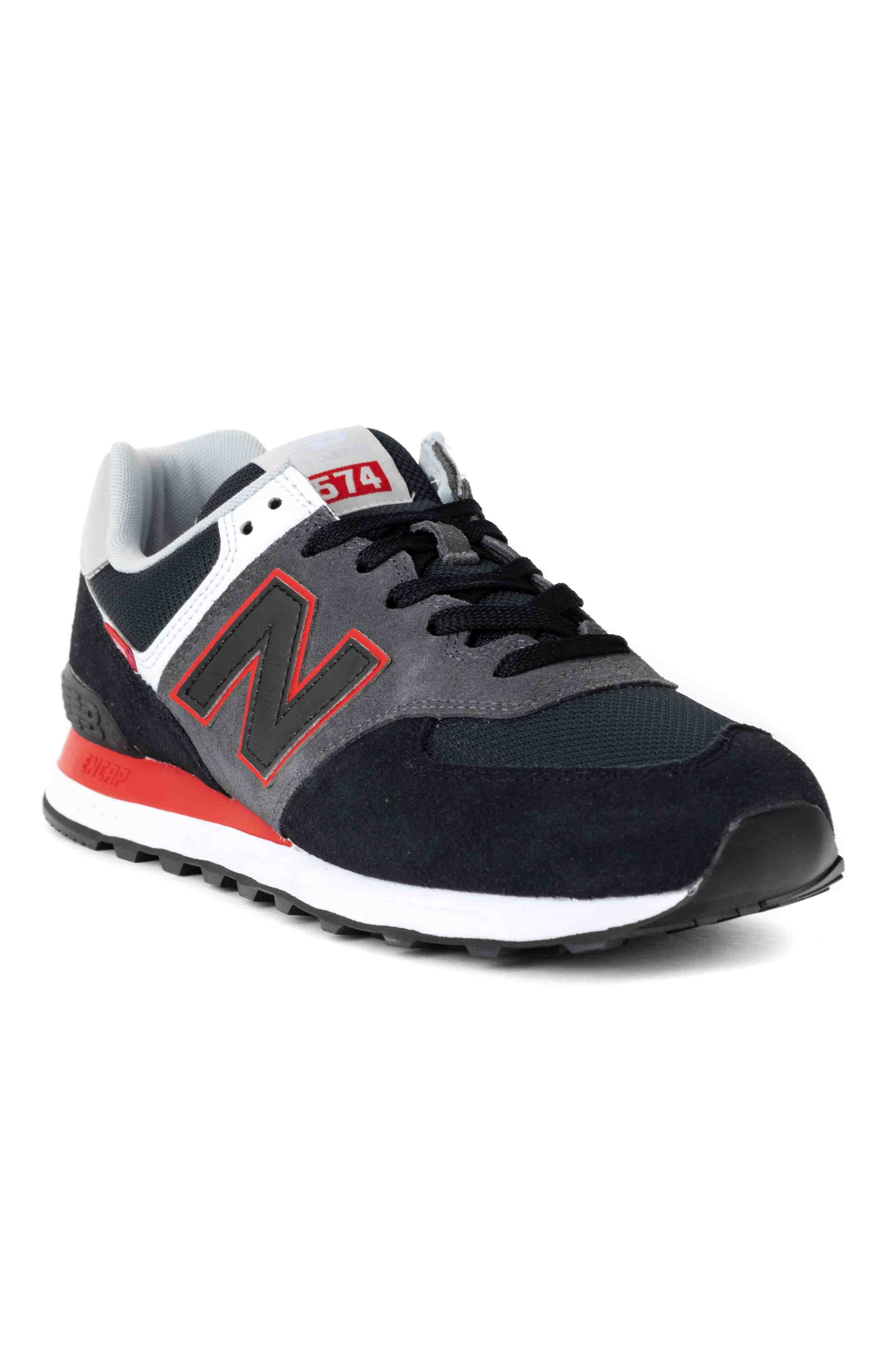 (ML574SM2) 574 Shoes - Black/Velocity Red 3