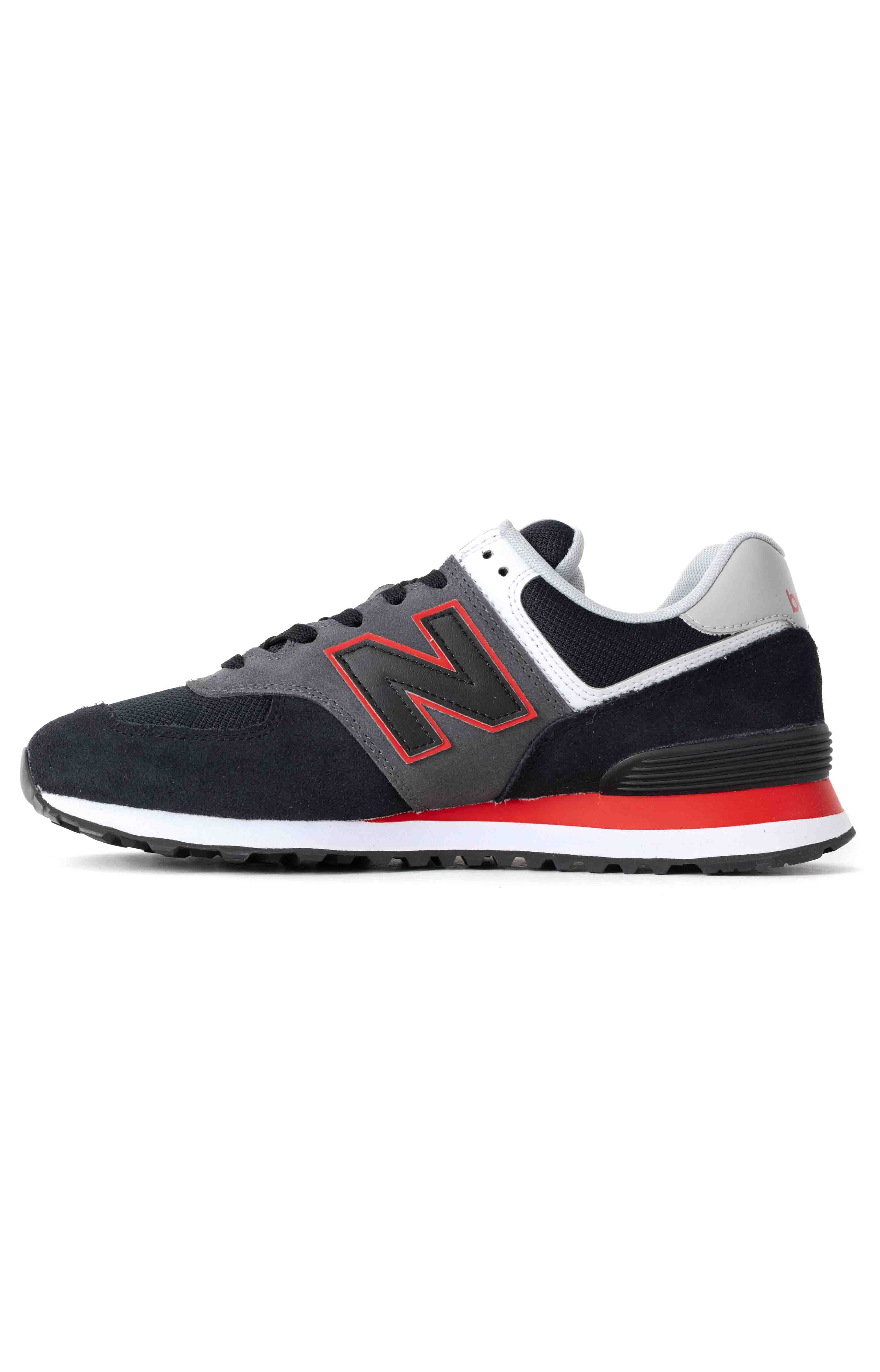(ML574SM2) 574 Shoes - Black/Velocity Red 4
