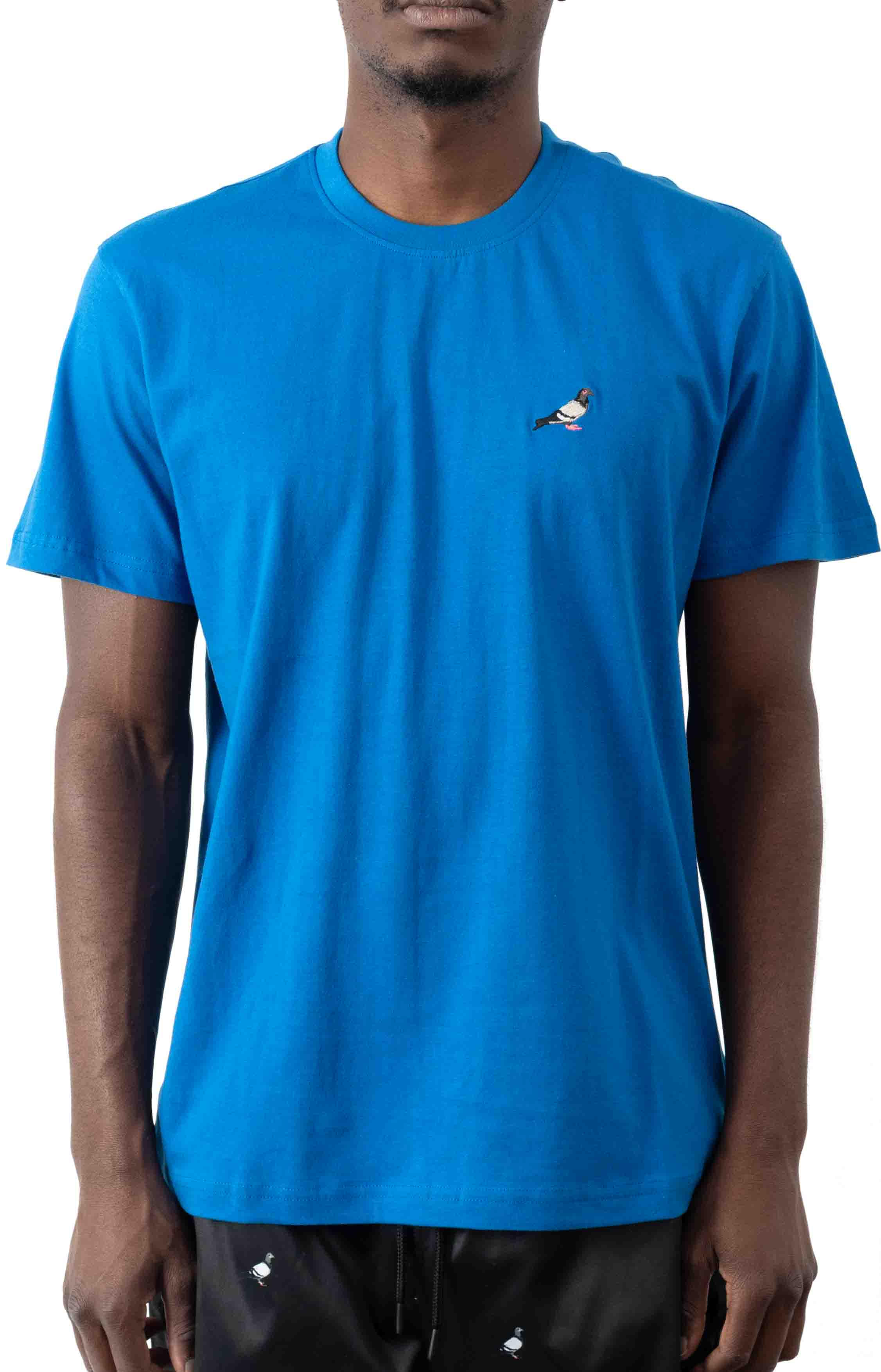 Embroidered Pigeon T-Shirt - Blue