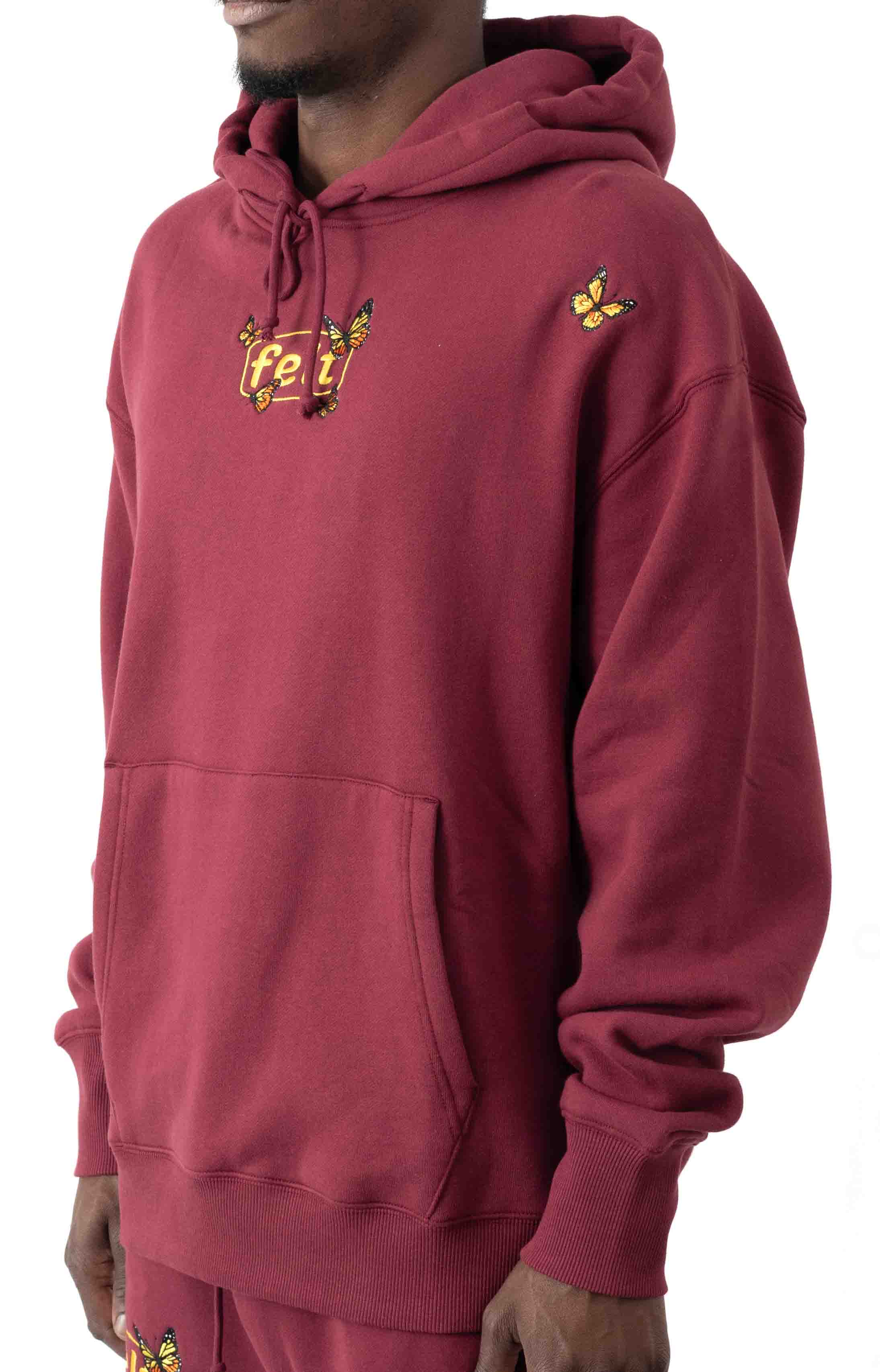 Butterfly Embroidered Pullover Hoodie - Burgundy  2