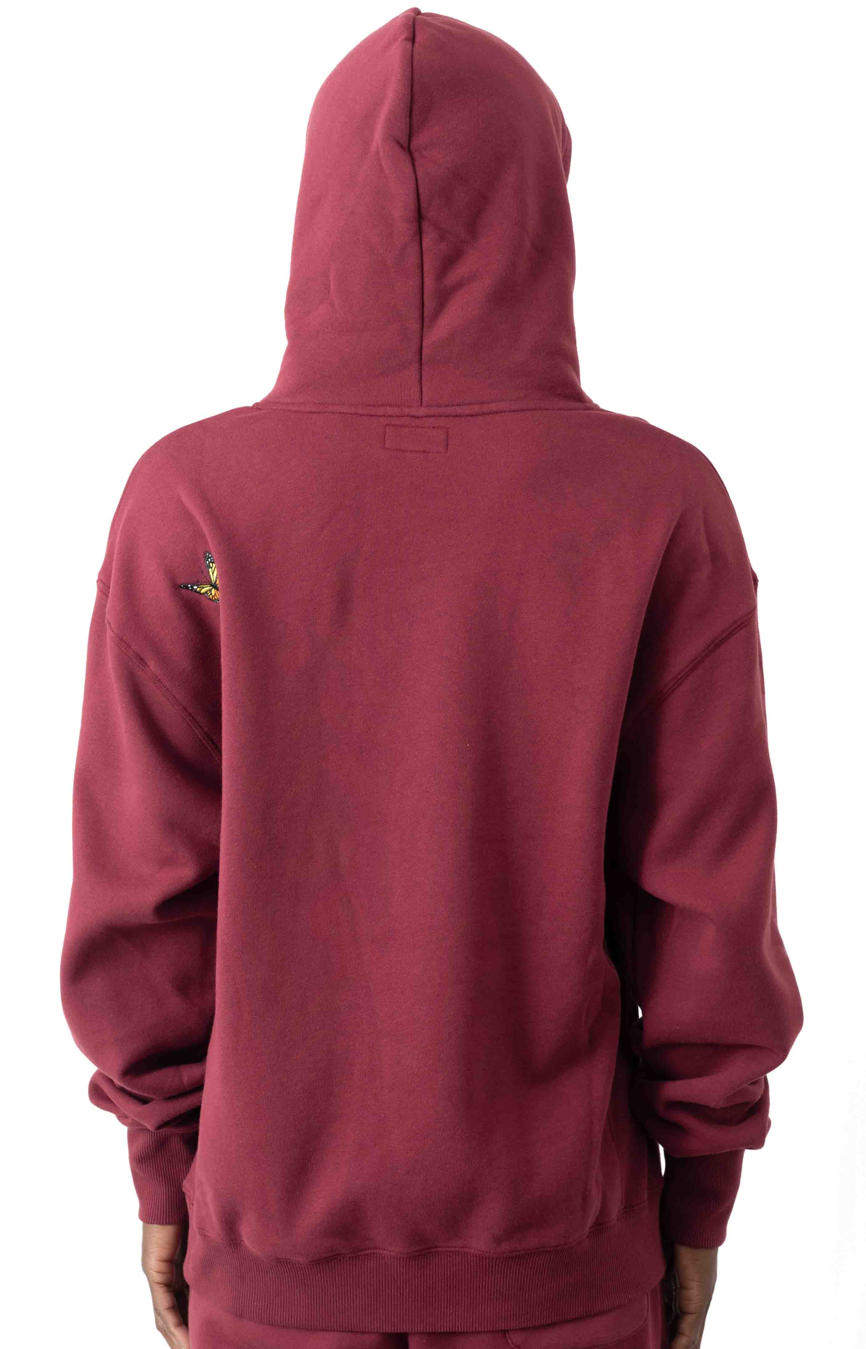 Butterfly Embroidered Pullover Hoodie - Burgundy  3
