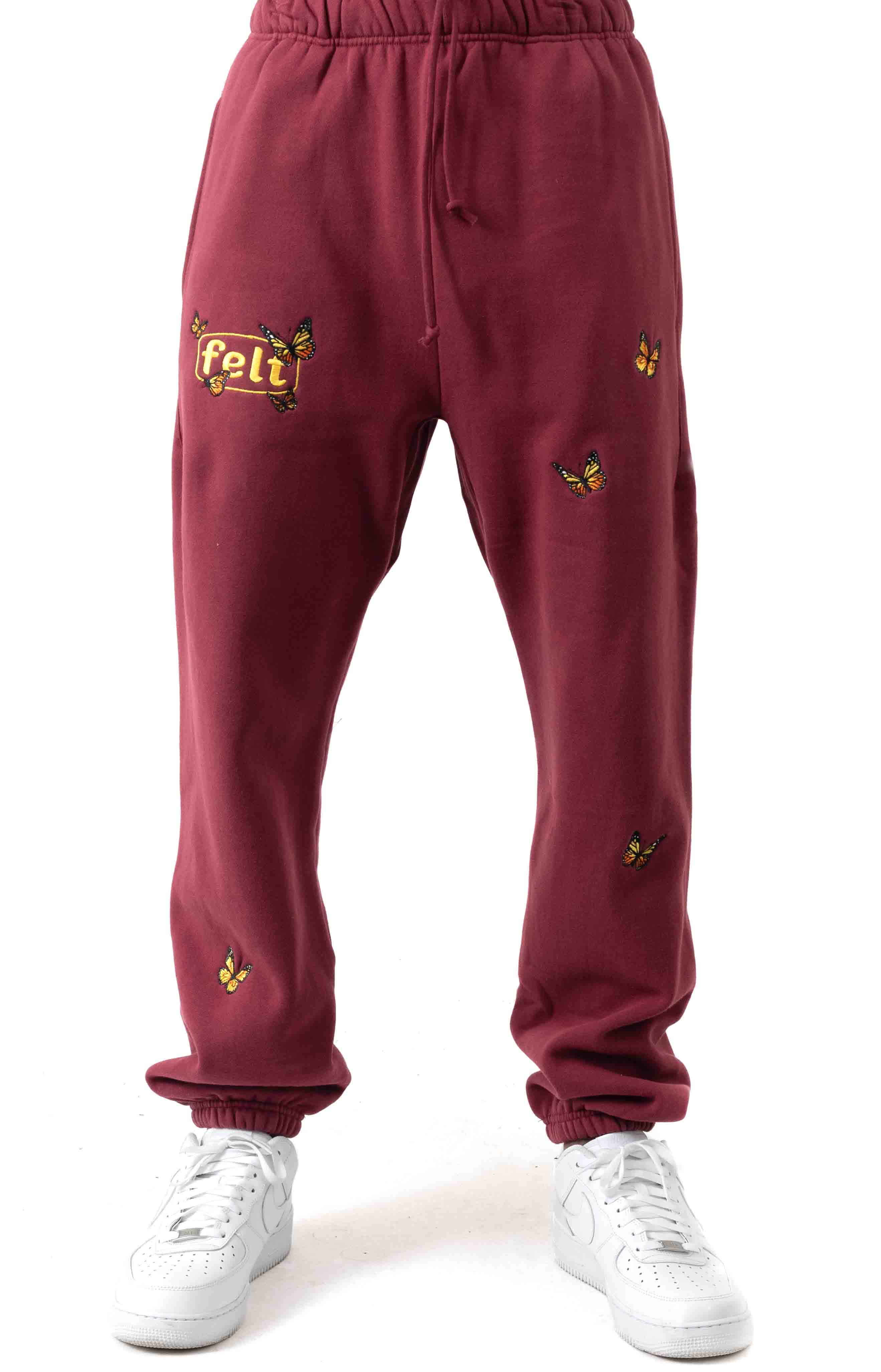 Butterfly Embroidered Sweatpants - Burgundy