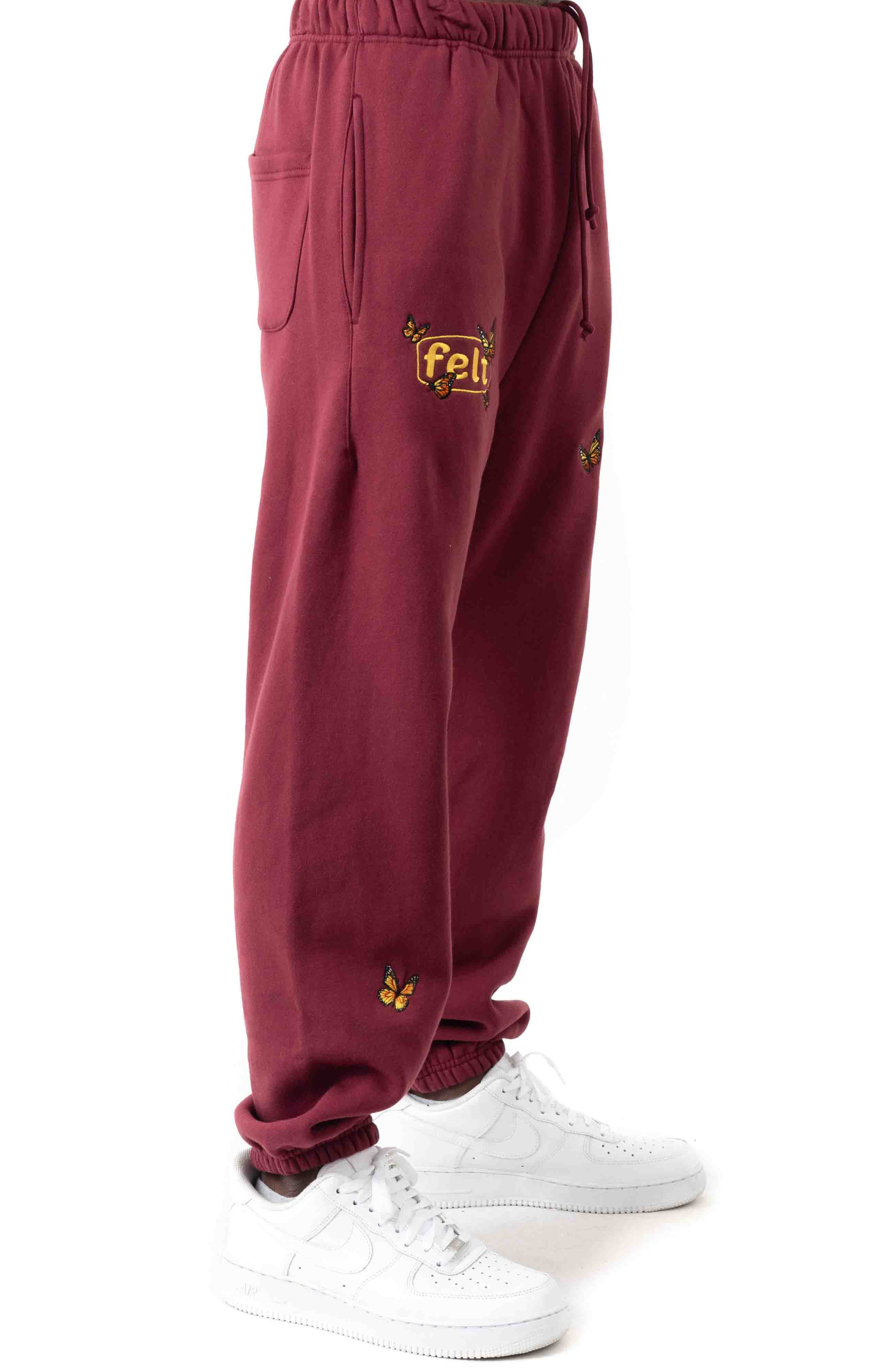 Butterfly Embroidered Sweatpants - Burgundy  2