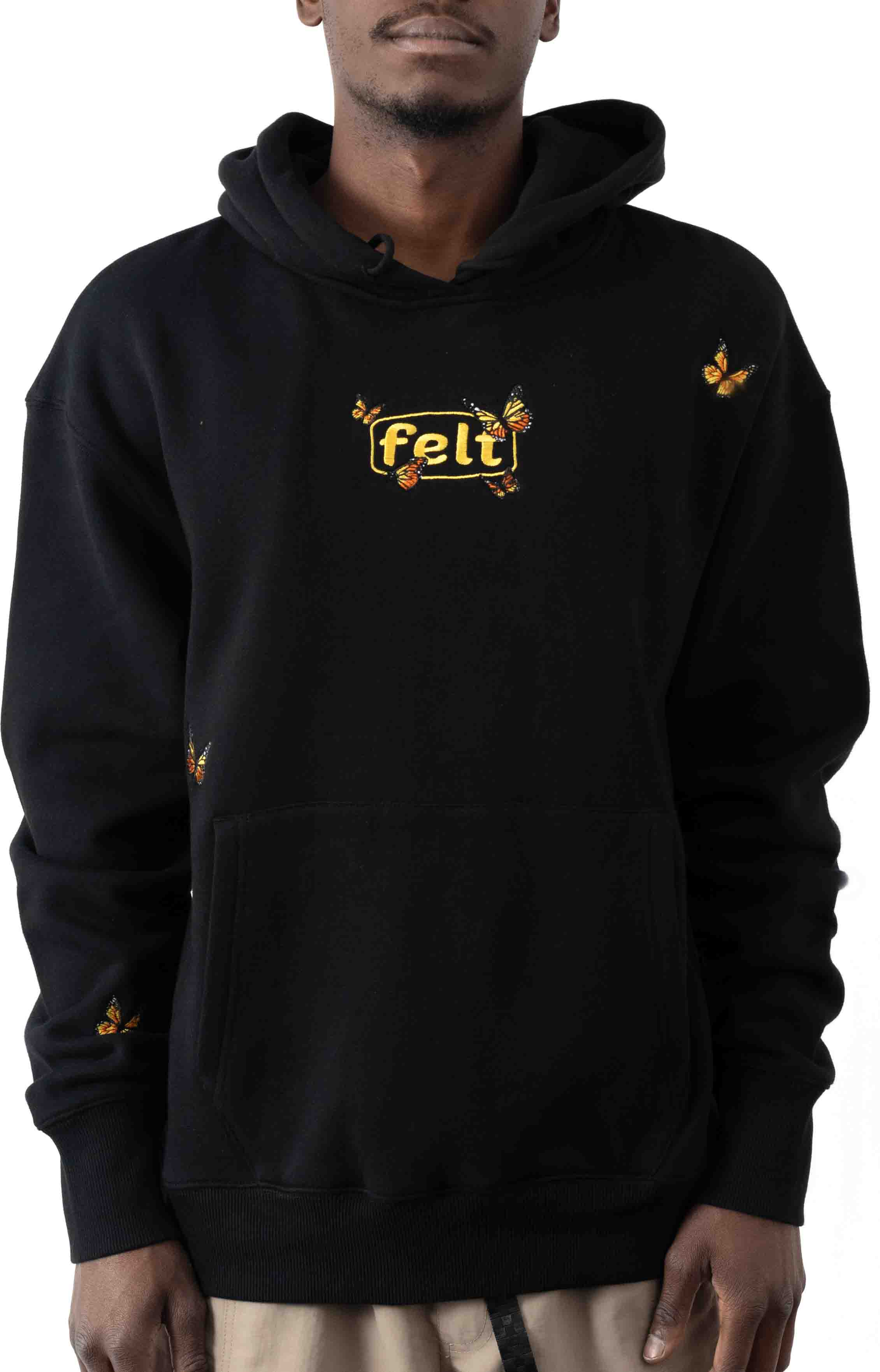 Butterfly Embroidered Pullover Hoodie - Black