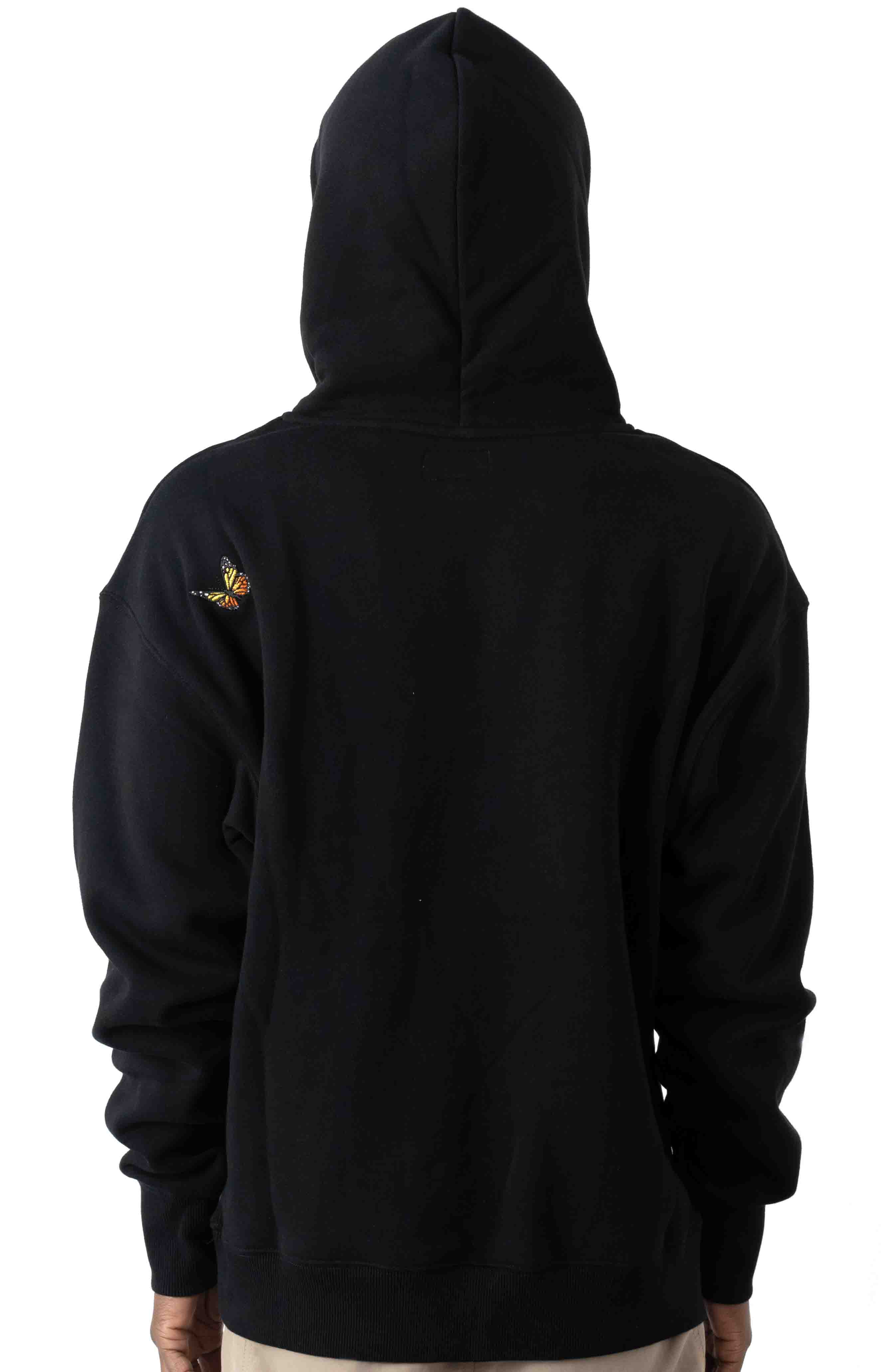 Butterfly Embroidered Pullover Hoodie - Black 3