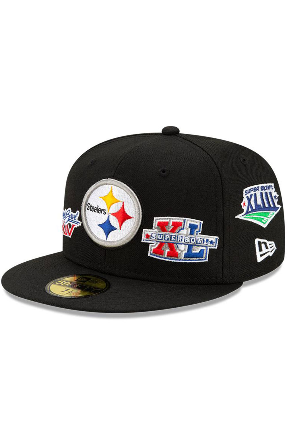Pittsburgh Steelers Super Bowl Patch 59Fifty Fitted Hat - Black
