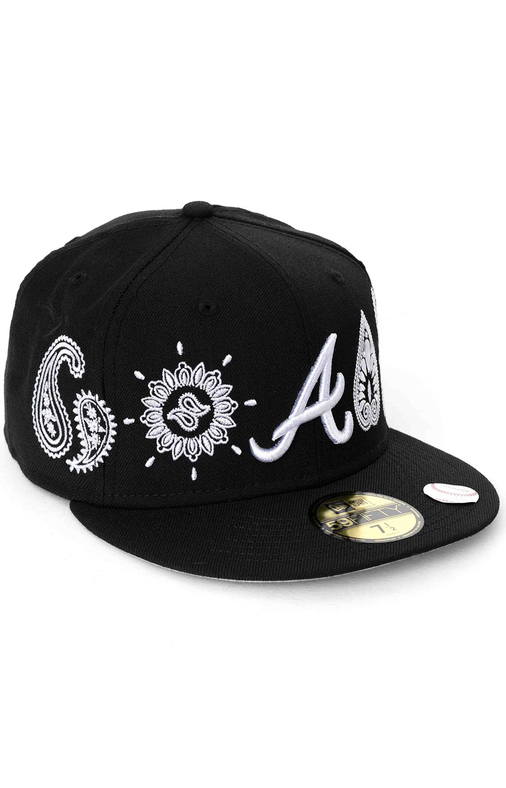 Atlanta Braves Paisley Elements 59Fifty Fitted Hat - Black  3