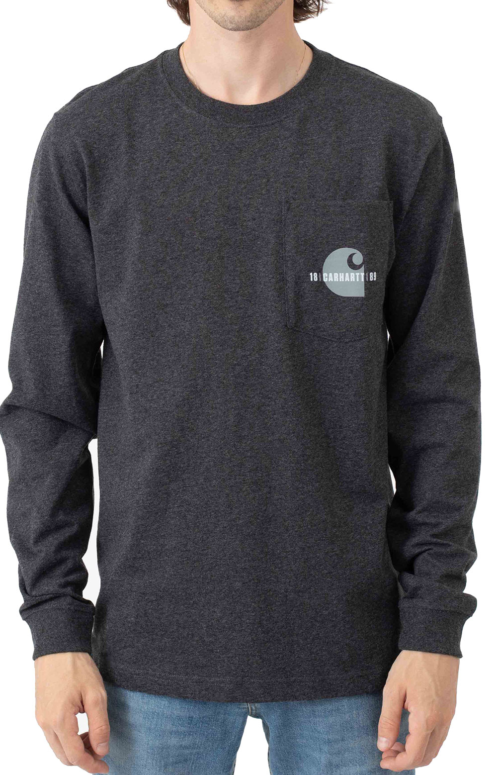 (105054) Loose Fit Heavyweight L/S Pocket Carhartt C Graphic T-Shirt - Carbon Heather