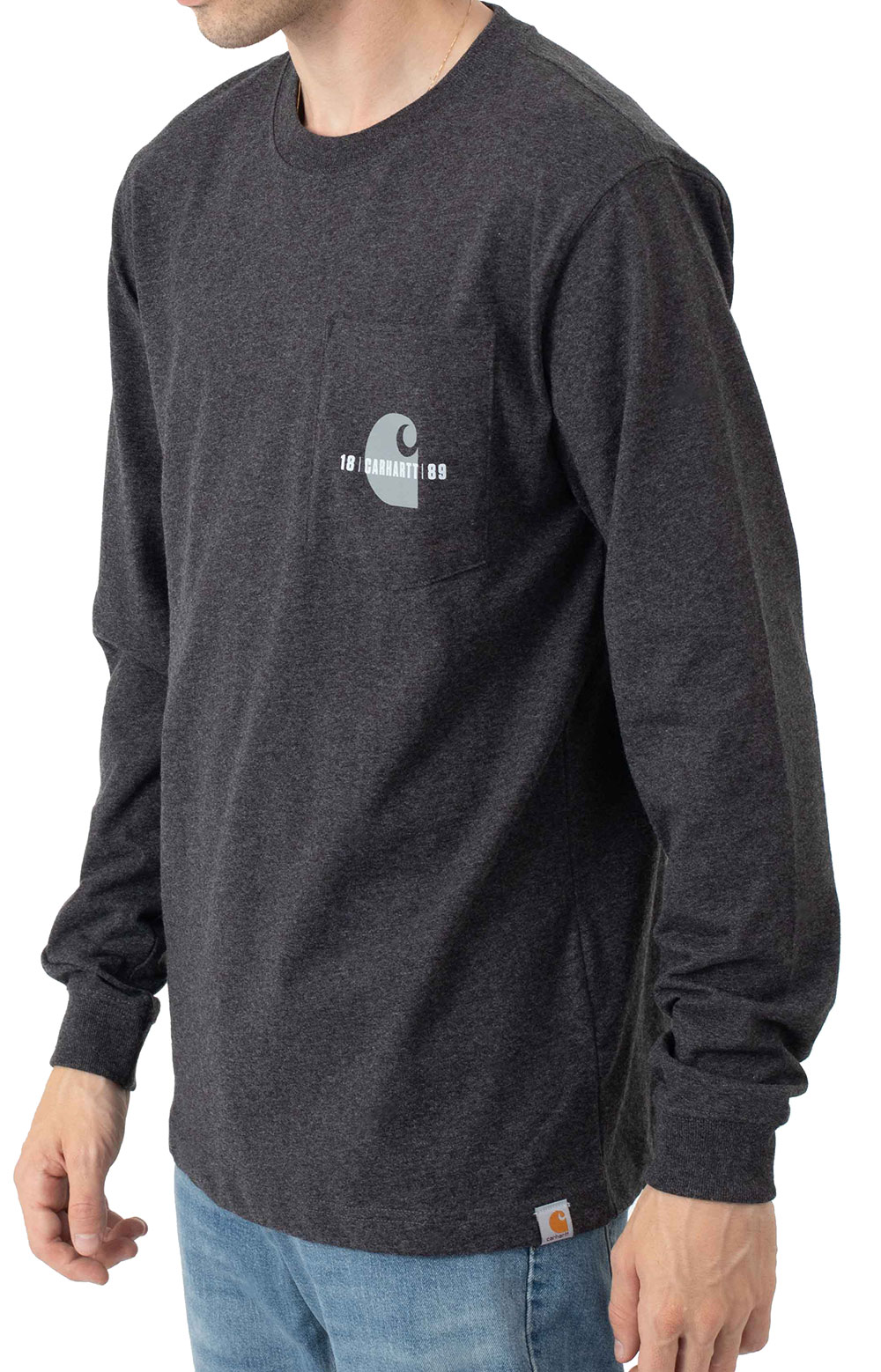 (105054) Loose Fit Heavyweight L/S Pocket Carhartt C Graphic T-Shirt - Carbon Heather  2