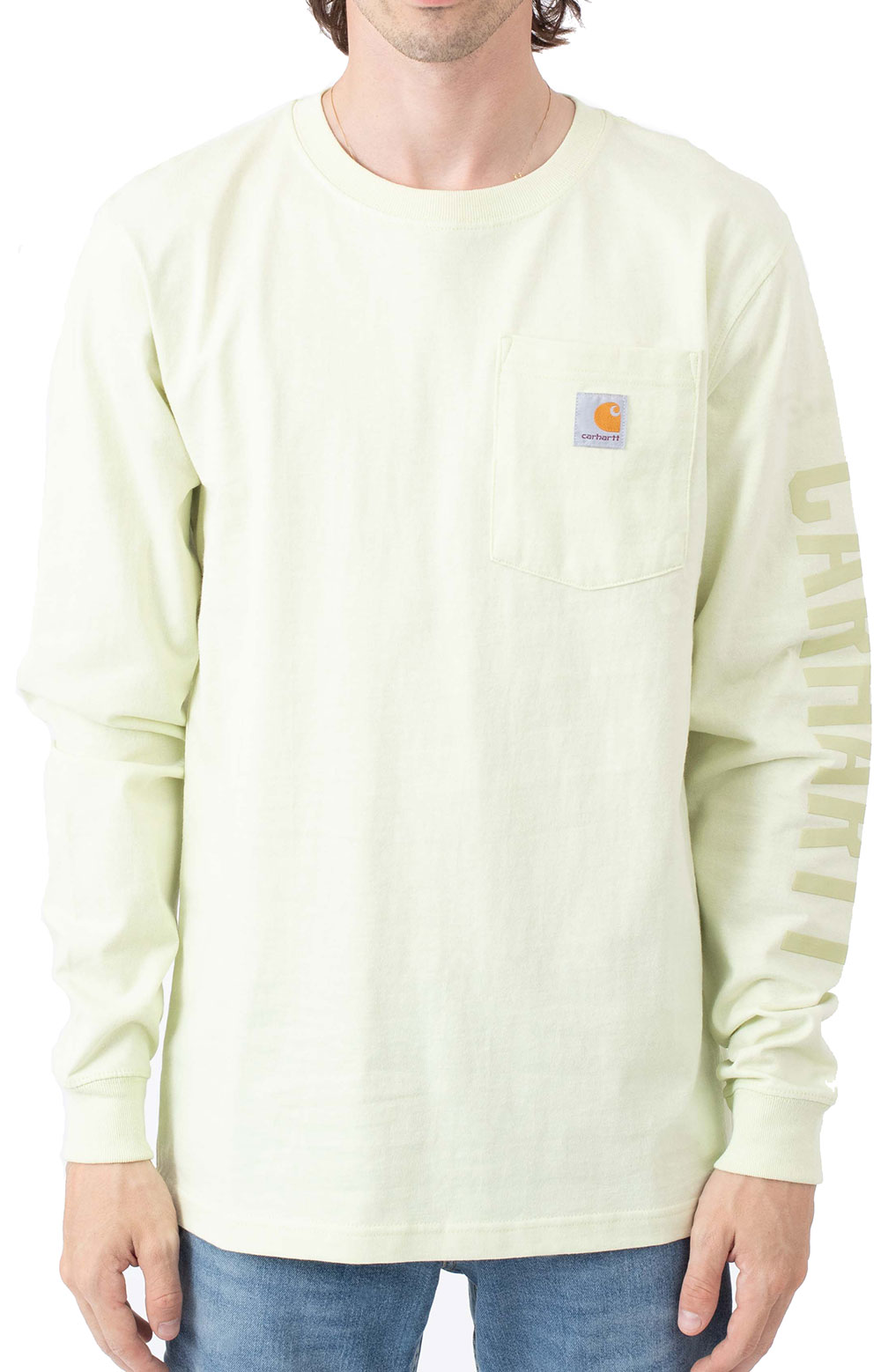 (105041) Relaxed Fit Heavyweight L/S Pocket Logo Graphic T-Shirt - Pastel Lime