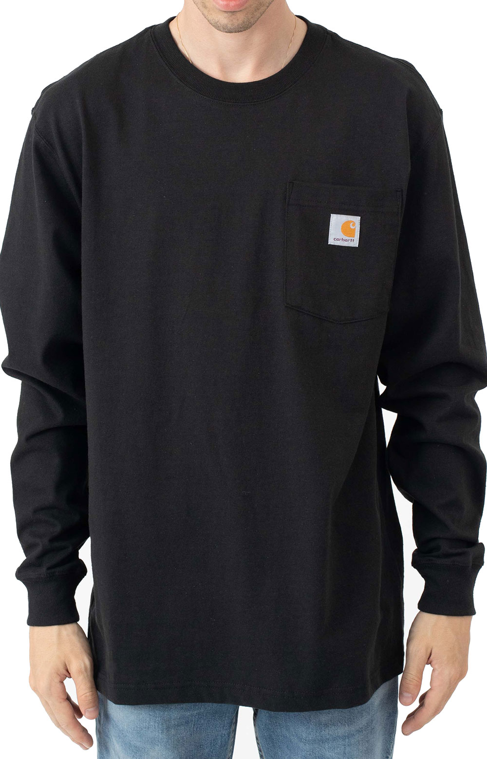 (104896) Loose Fit Heavyweight L/S Pocket Antler Graphic T-Shirt - Black  2