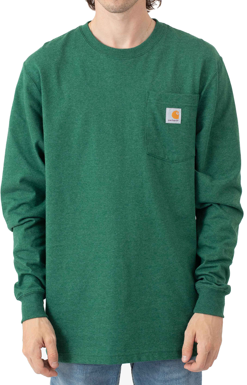 (104896) Loose Fit Heavyweight L/S Pocket Antler Graphic T-Shirt - North Woods Heather  2
