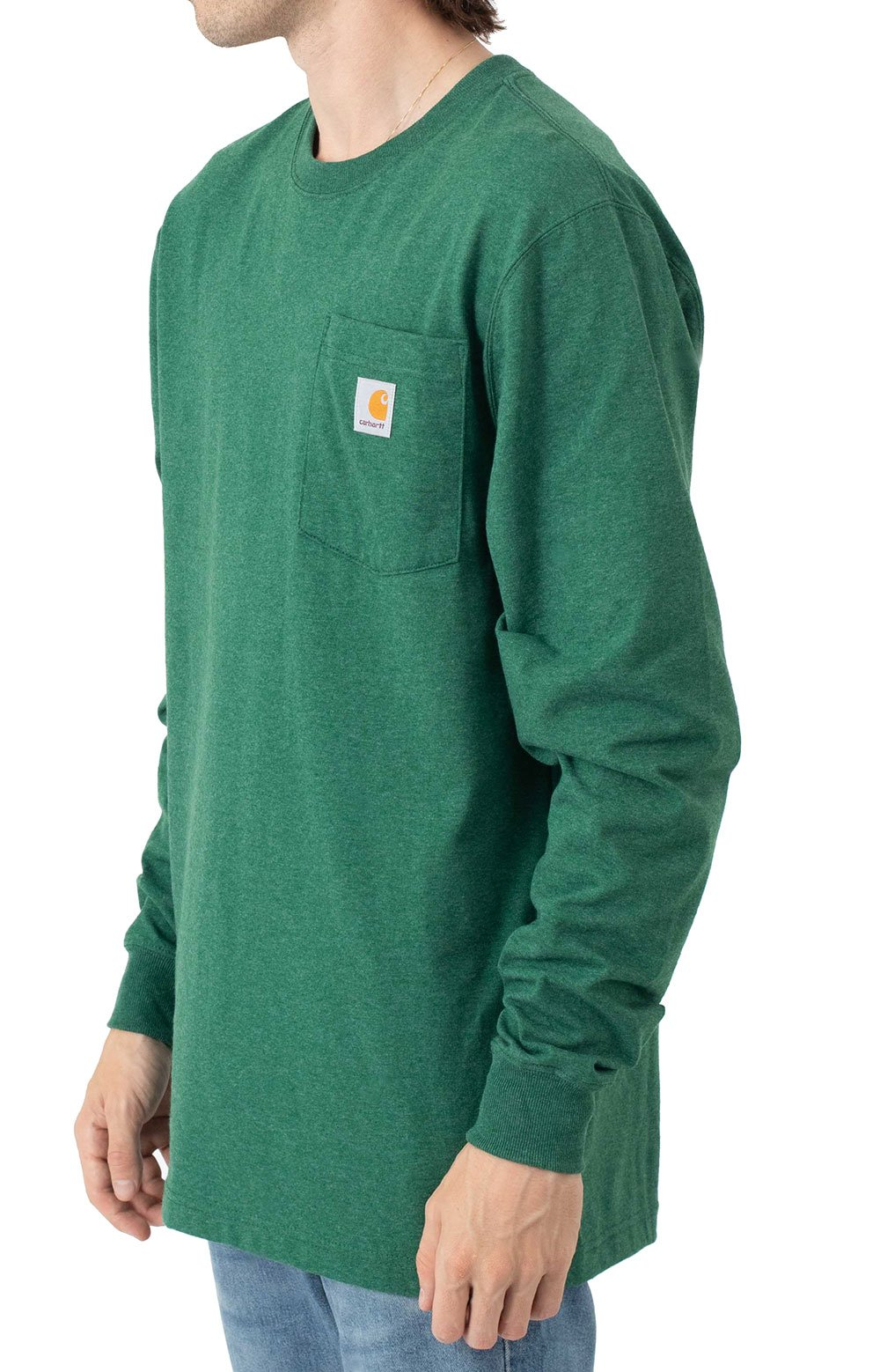 (104896) Loose Fit Heavyweight L/S Pocket Antler Graphic T-Shirt - North Woods Heather  3