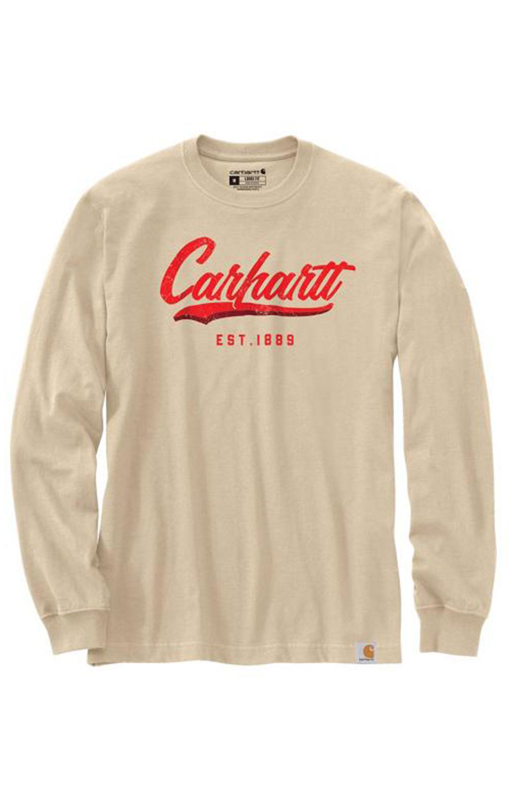 (104890) Loose Fit Heavyweight L/S Hand-Painted Graphic T-Shirt - White Truffle
