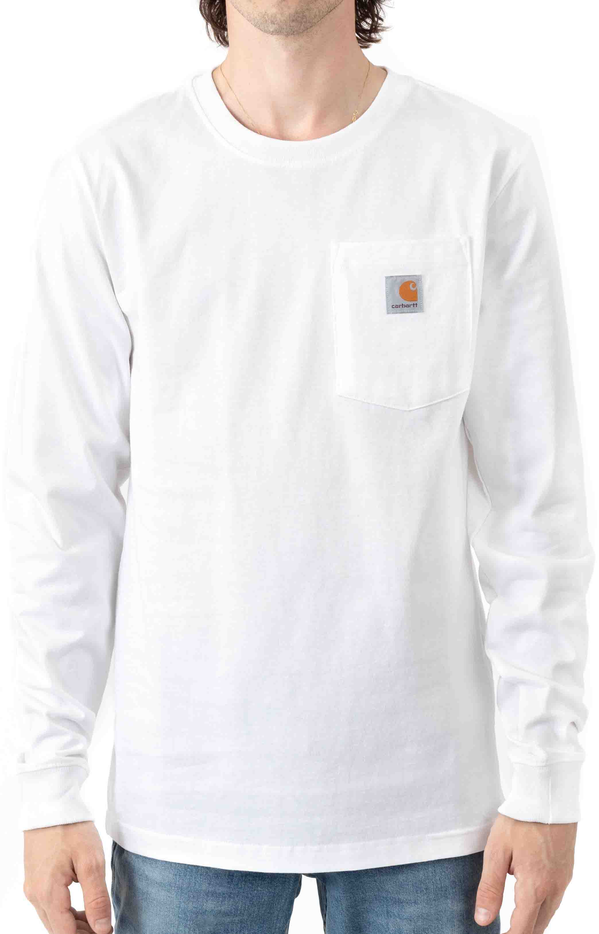 (104895) Relaxed Fit Heavyweight LS Pocket Craftsman Graphic T-Shirt - White  2