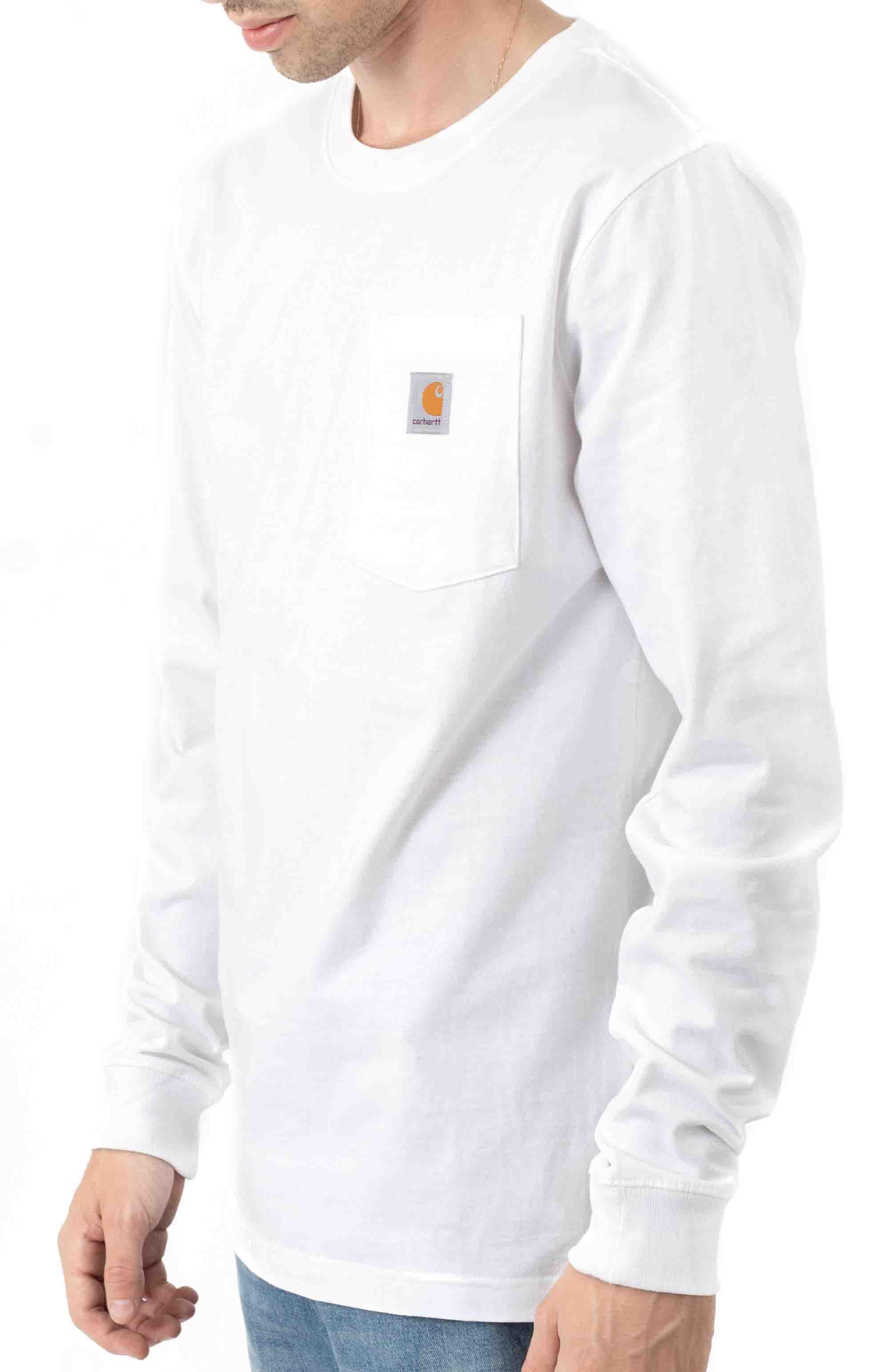 (104895) Relaxed Fit Heavyweight LS Pocket Craftsman Graphic T-Shirt - White  3