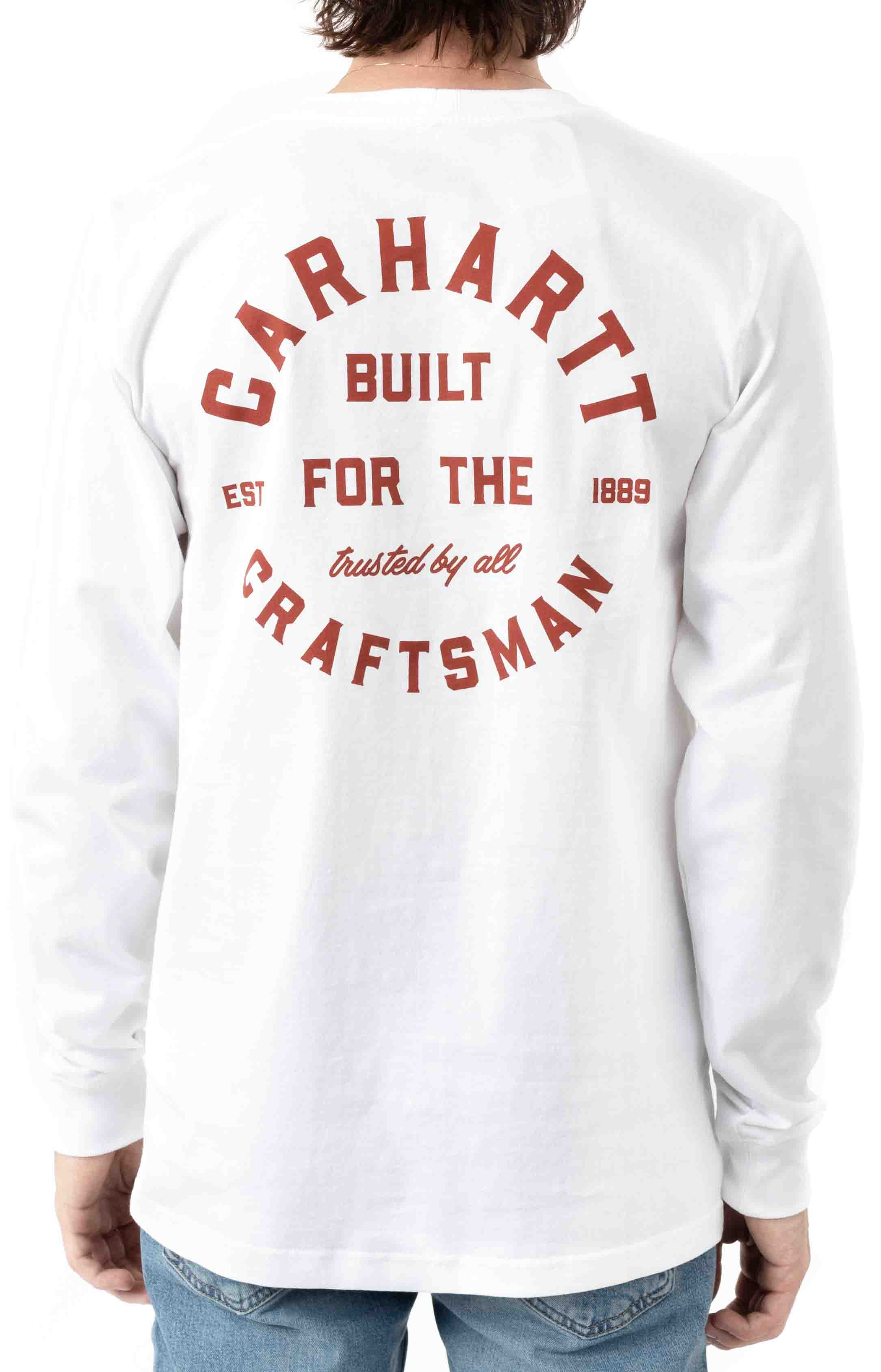 (104895) Relaxed Fit Heavyweight LS Pocket Craftsman Graphic T-Shirt - White