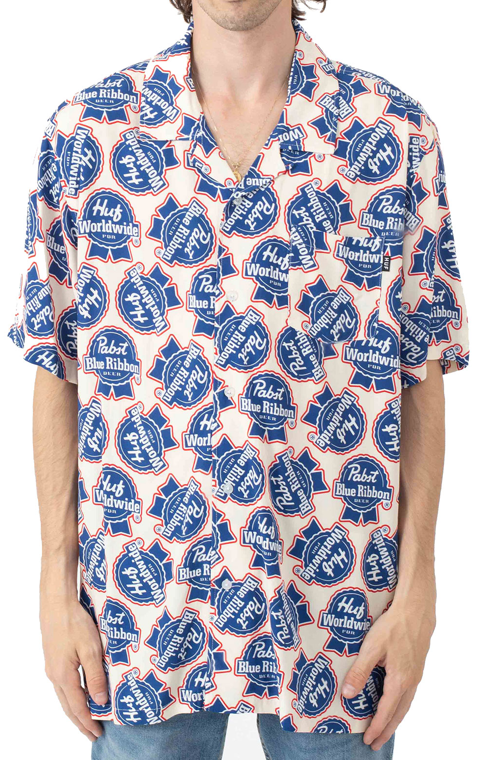 Rayon S/S Woven Button-Up Shirt - Natural