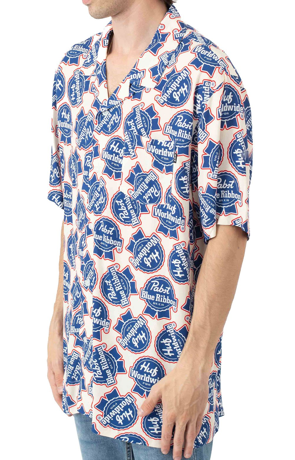 Rayon S/S Woven Button-Up Shirt - Natural  2