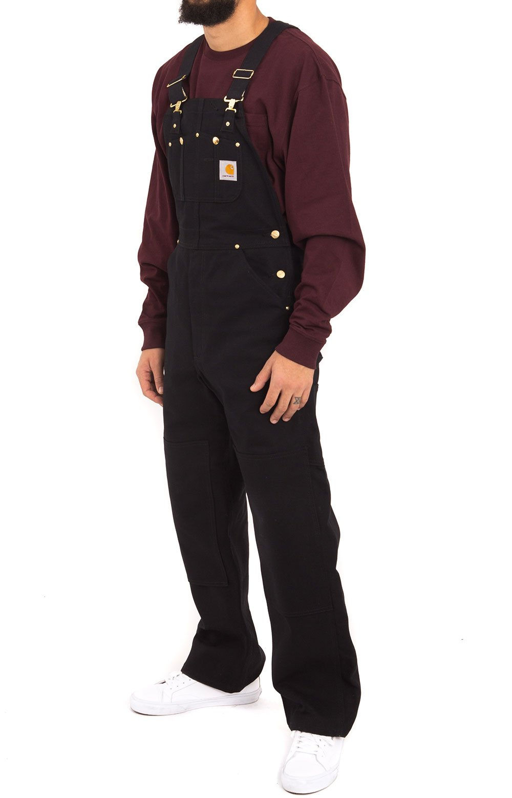 (102776) Relaxed Fit Duck Bib Overalls - Black 2