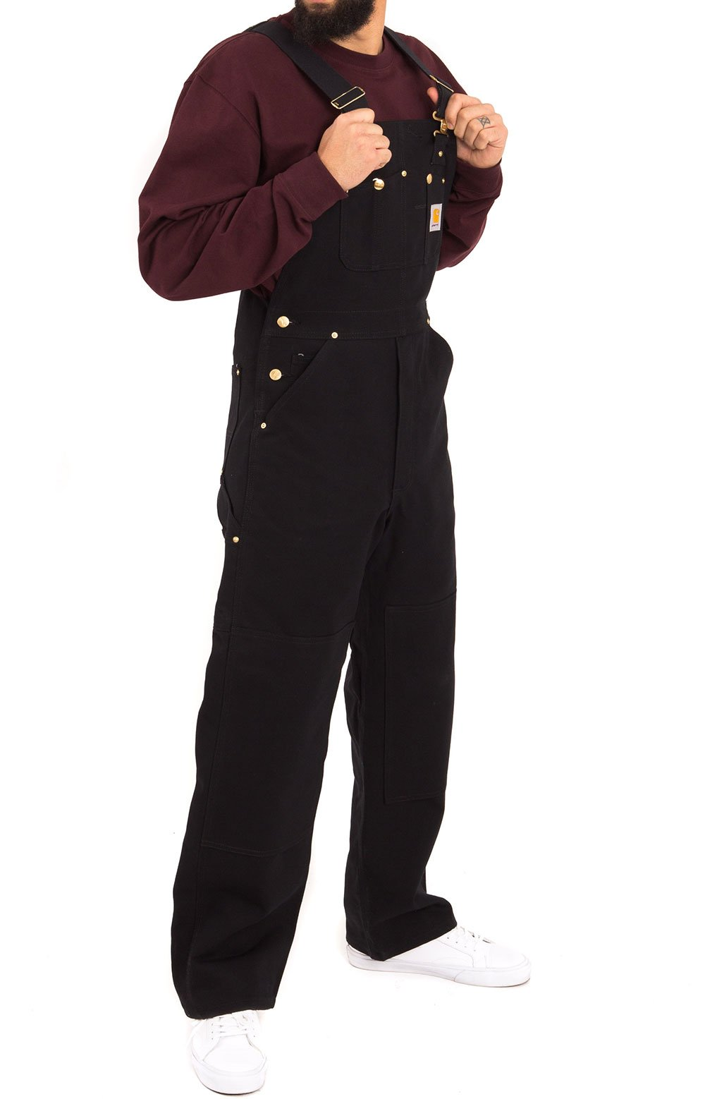 (102776) Relaxed Fit Duck Bib Overalls - Black 4