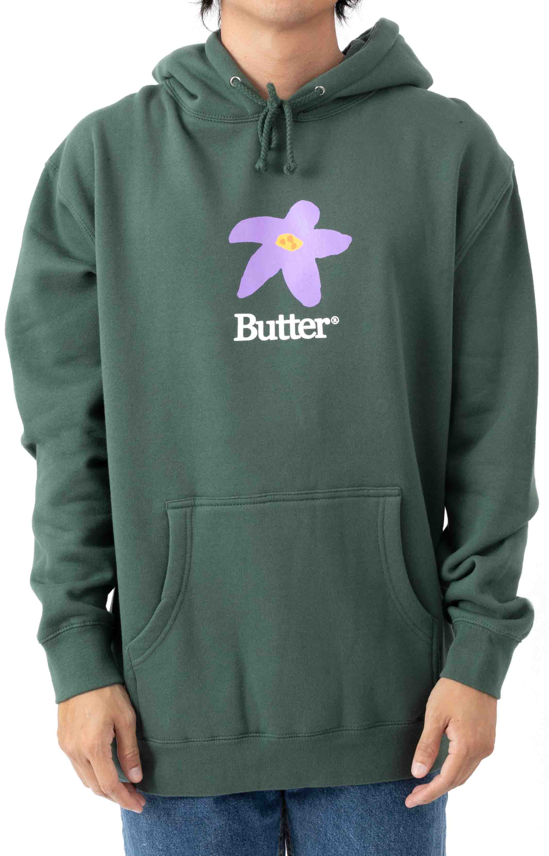Flowers Pullover Hoodie - Forest Green