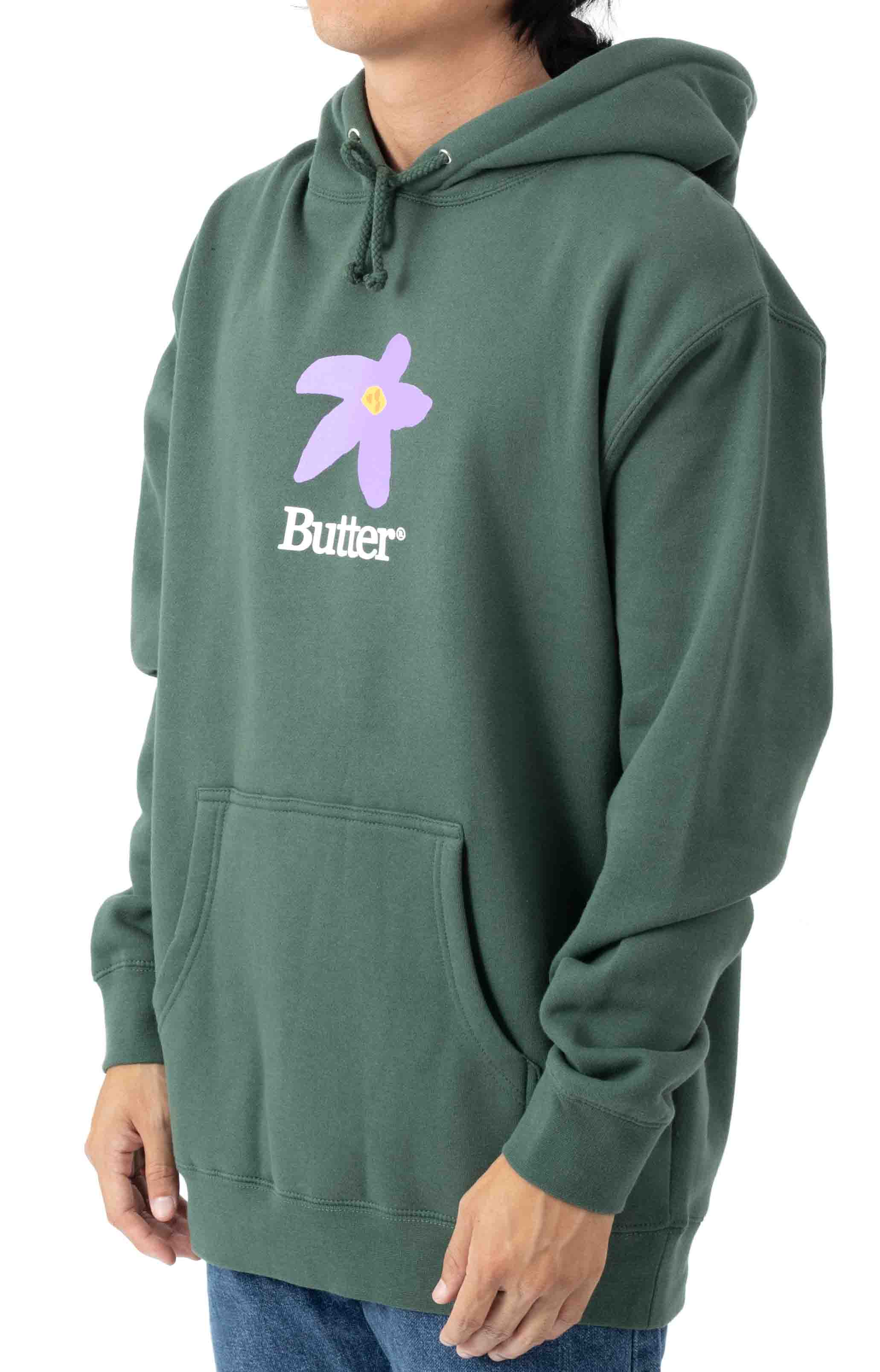 Flowers Pullover Hoodie - Forest Green  2