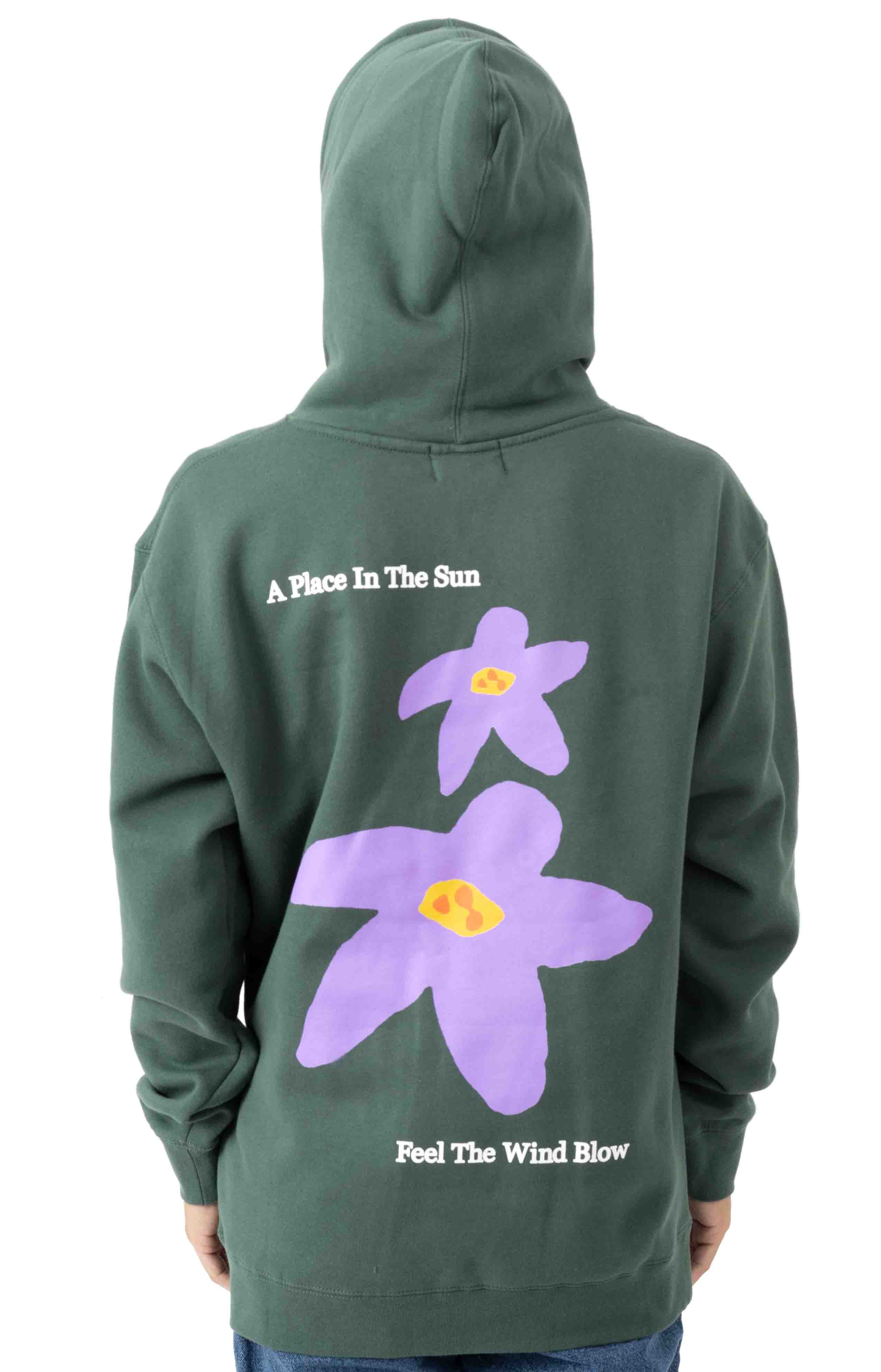Flowers Pullover Hoodie - Forest Green  3