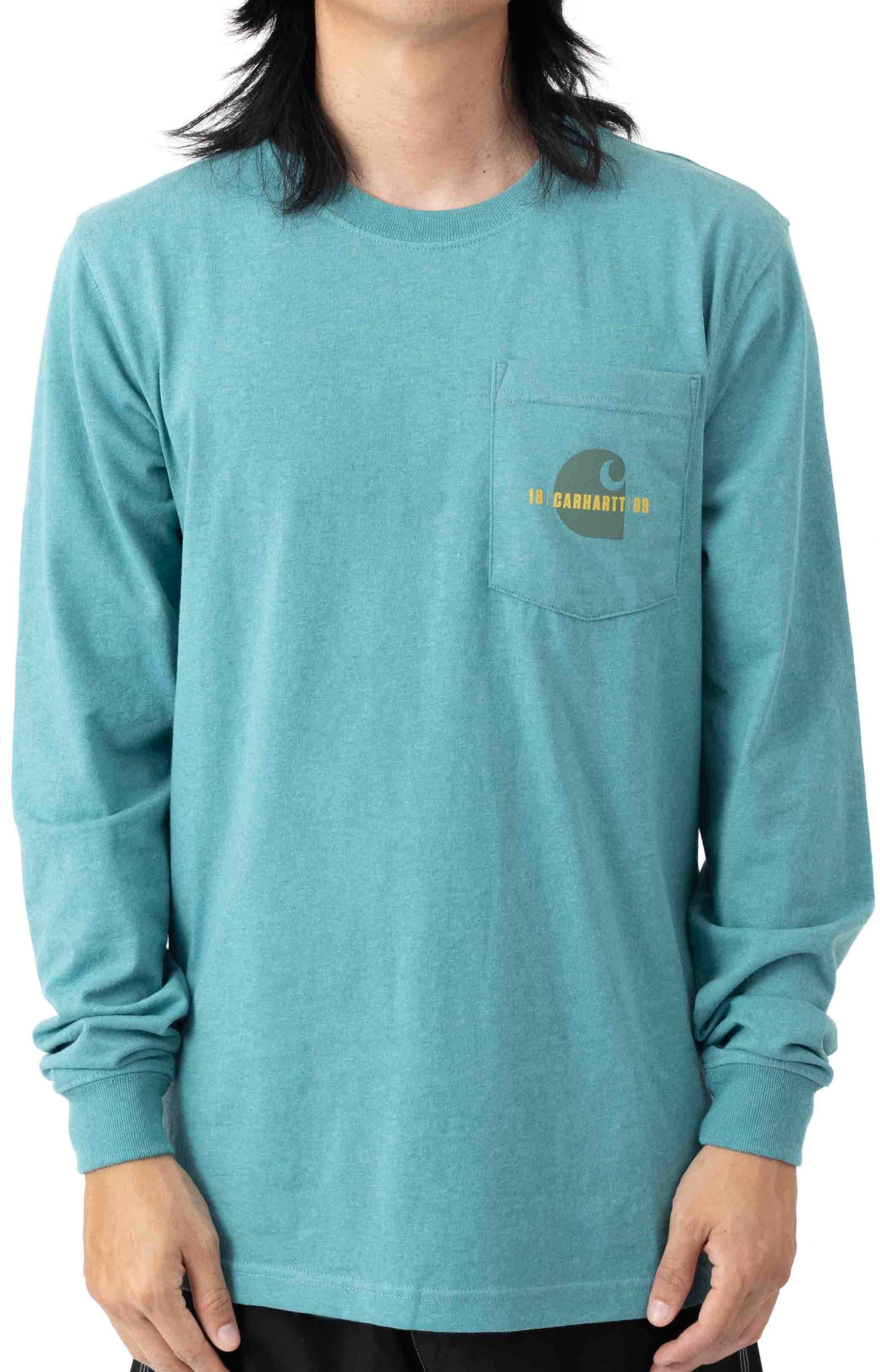 (105054) Loose Fit Heavyweight L/S Pocket Carhartt C Graphic T-Shirt - Blue Spruce Heather 2