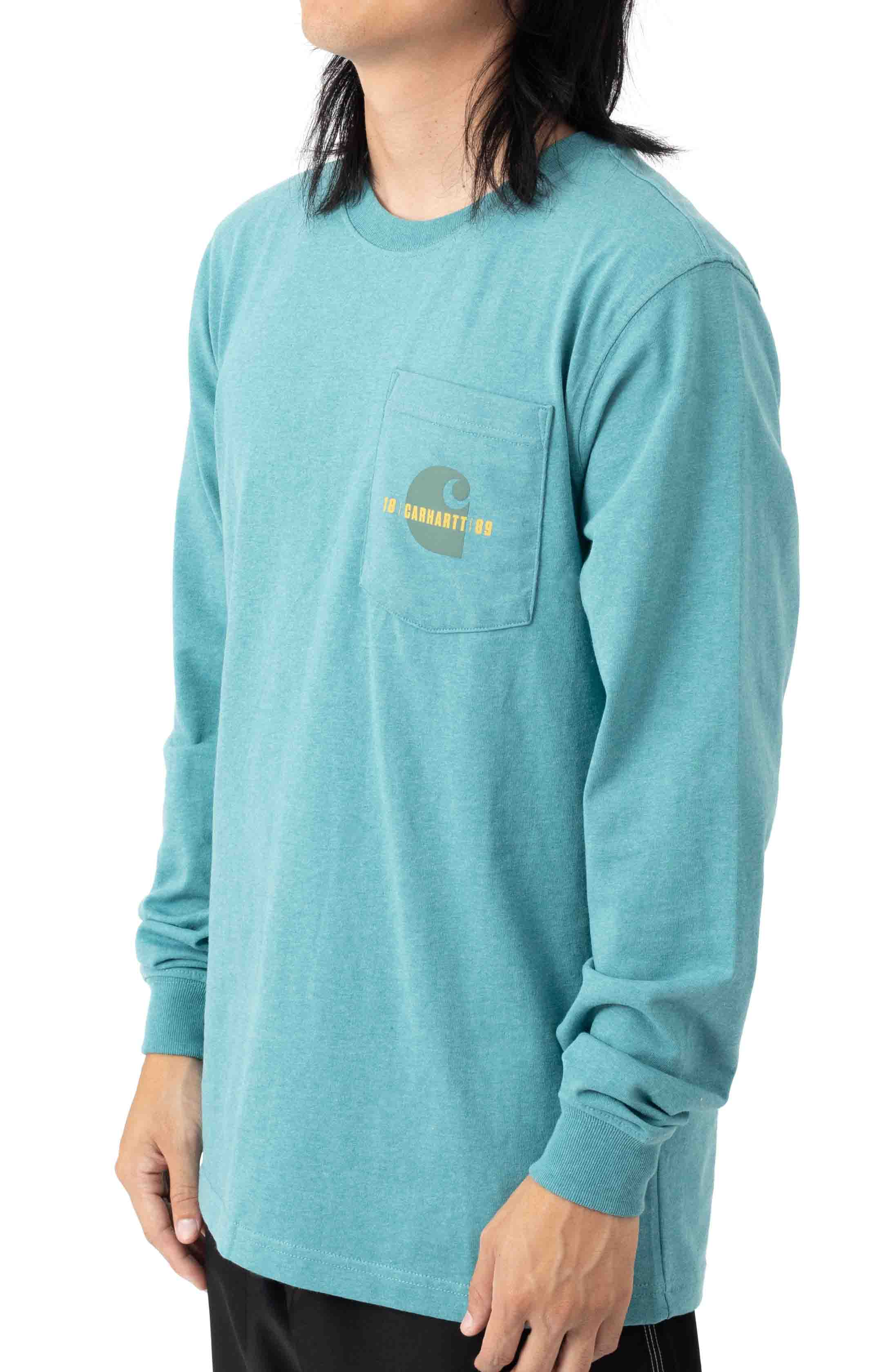 (105054) Loose Fit Heavyweight L/S Pocket Carhartt C Graphic T-Shirt - Blue Spruce Heather 3