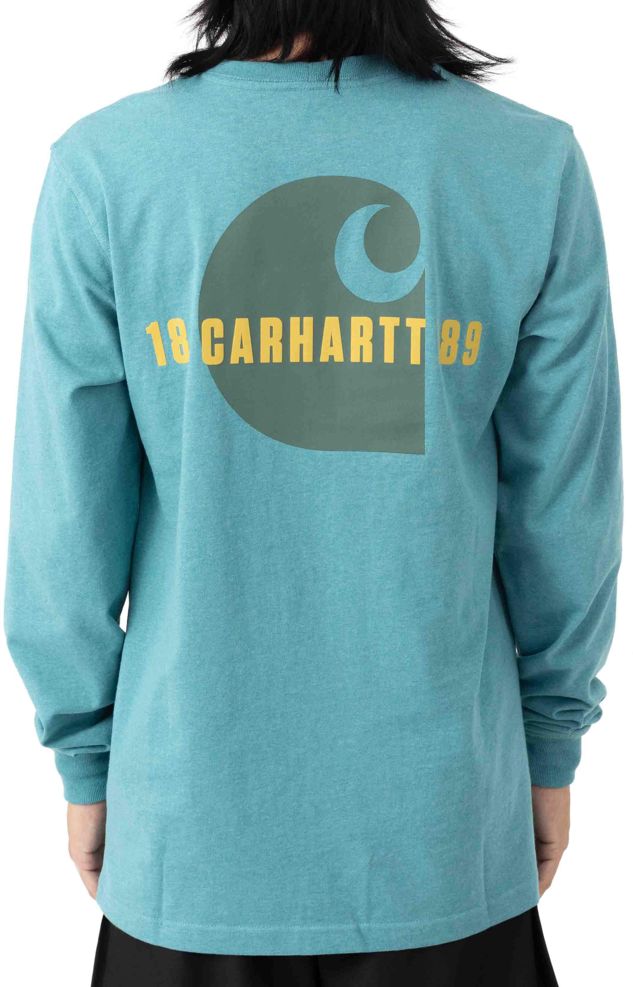 (105054) Loose Fit Heavyweight L/S Pocket Carhartt C Graphic T-Shirt - Blue Spruce Heather