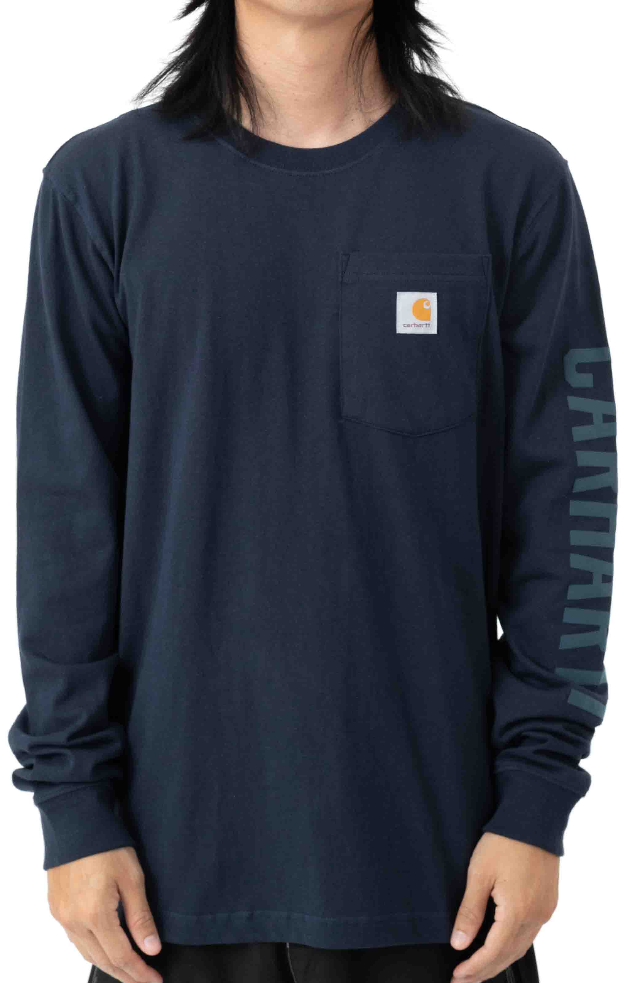 (105041) Relaxed Fit Heavyweight L/S Pocket Logo Graphic T-Shirt - Navy