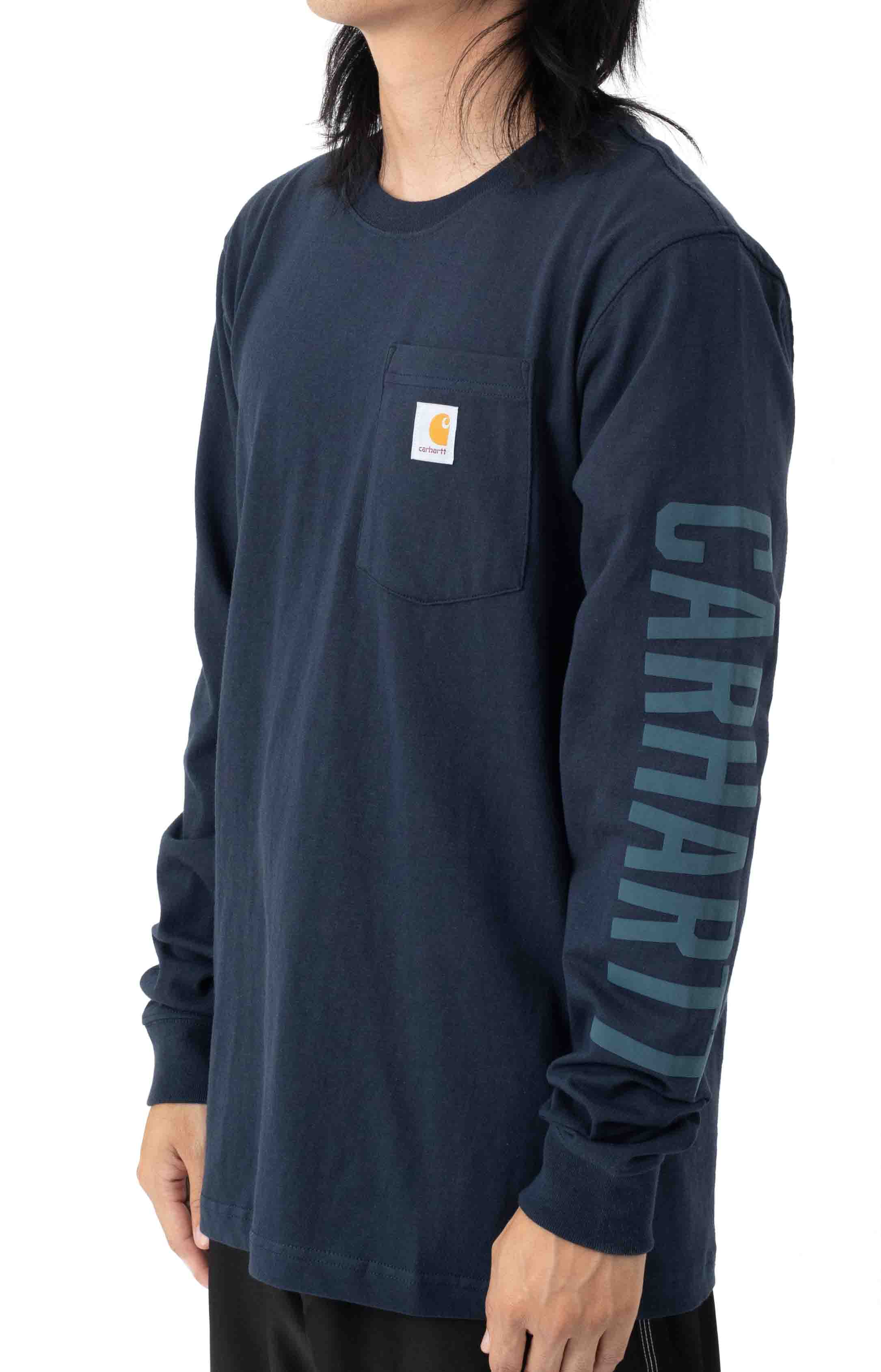 (105041) Relaxed Fit Heavyweight L/S Pocket Logo Graphic T-Shirt - Navy 2