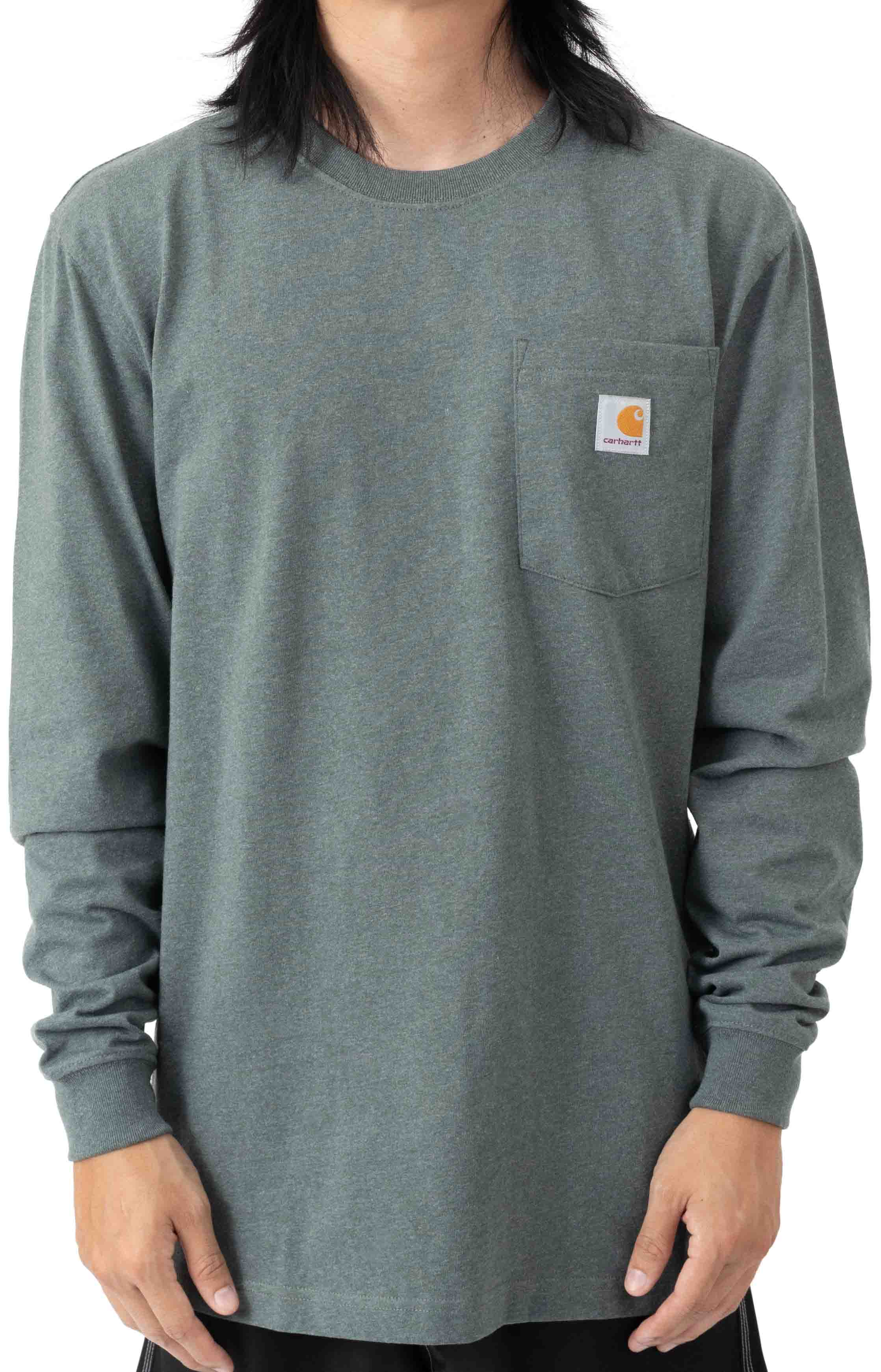 (104889) Loose Fit Heavyweight L/S Pocket Flag Graphic T-Shirt - Elm Heather  2