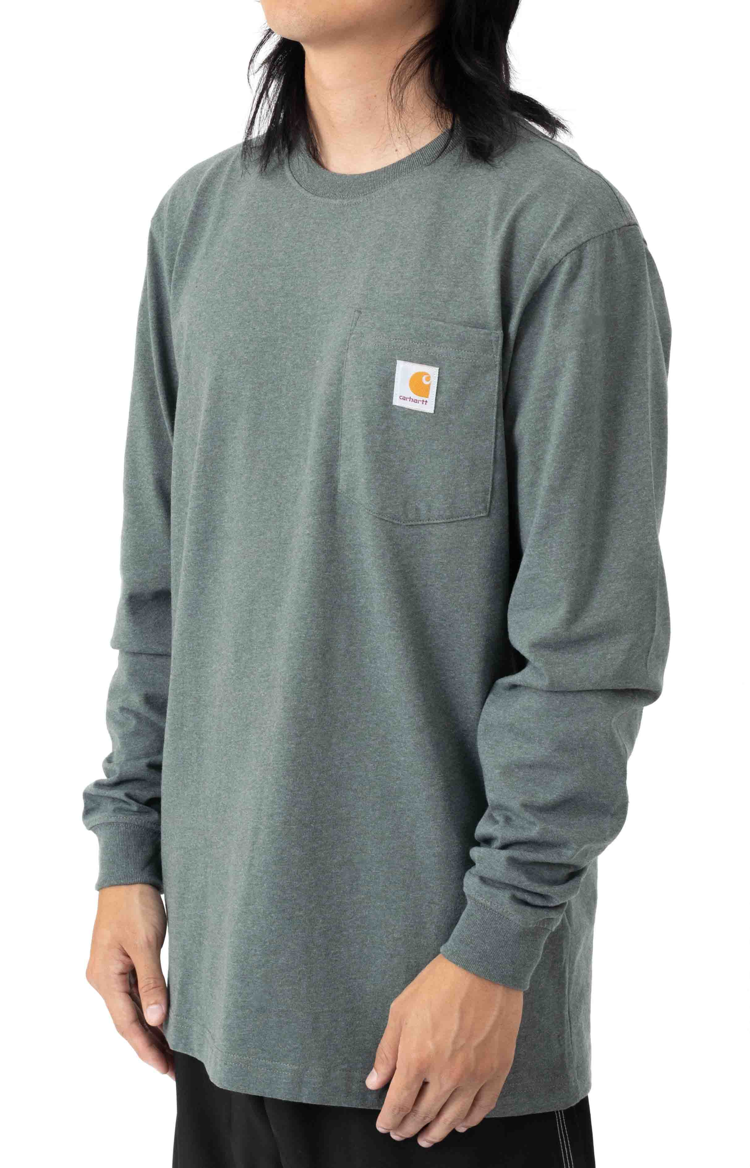 (104889) Loose Fit Heavyweight L/S Pocket Flag Graphic T-Shirt - Elm Heather  3