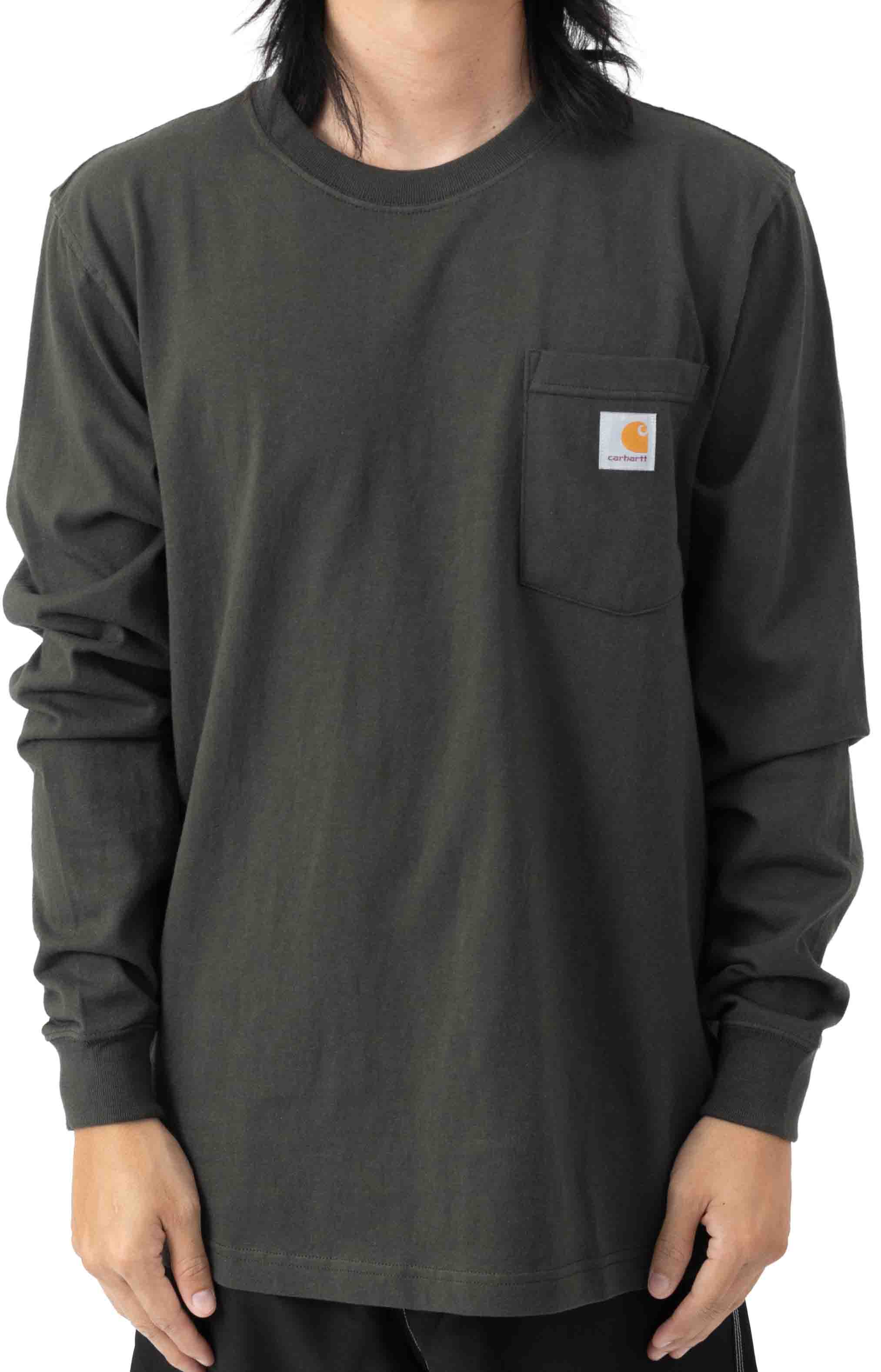 (104895) Relaxed Fit Heavyweight LS Pocket Craftsman Graphic T-Shirt - Peat 2
