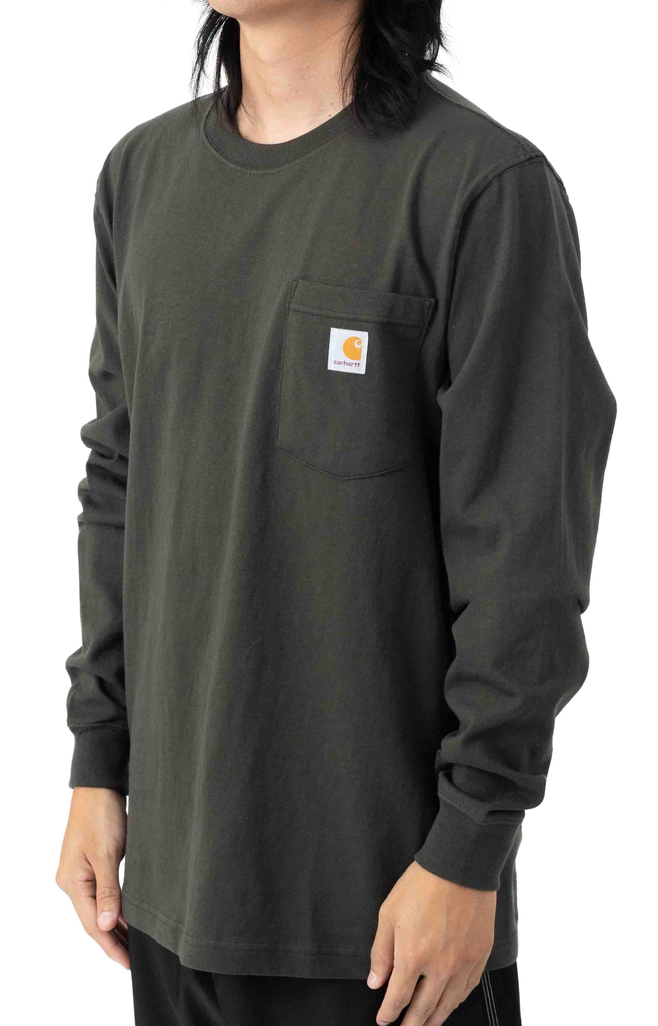 (104895) Relaxed Fit Heavyweight LS Pocket Craftsman Graphic T-Shirt - Peat 3