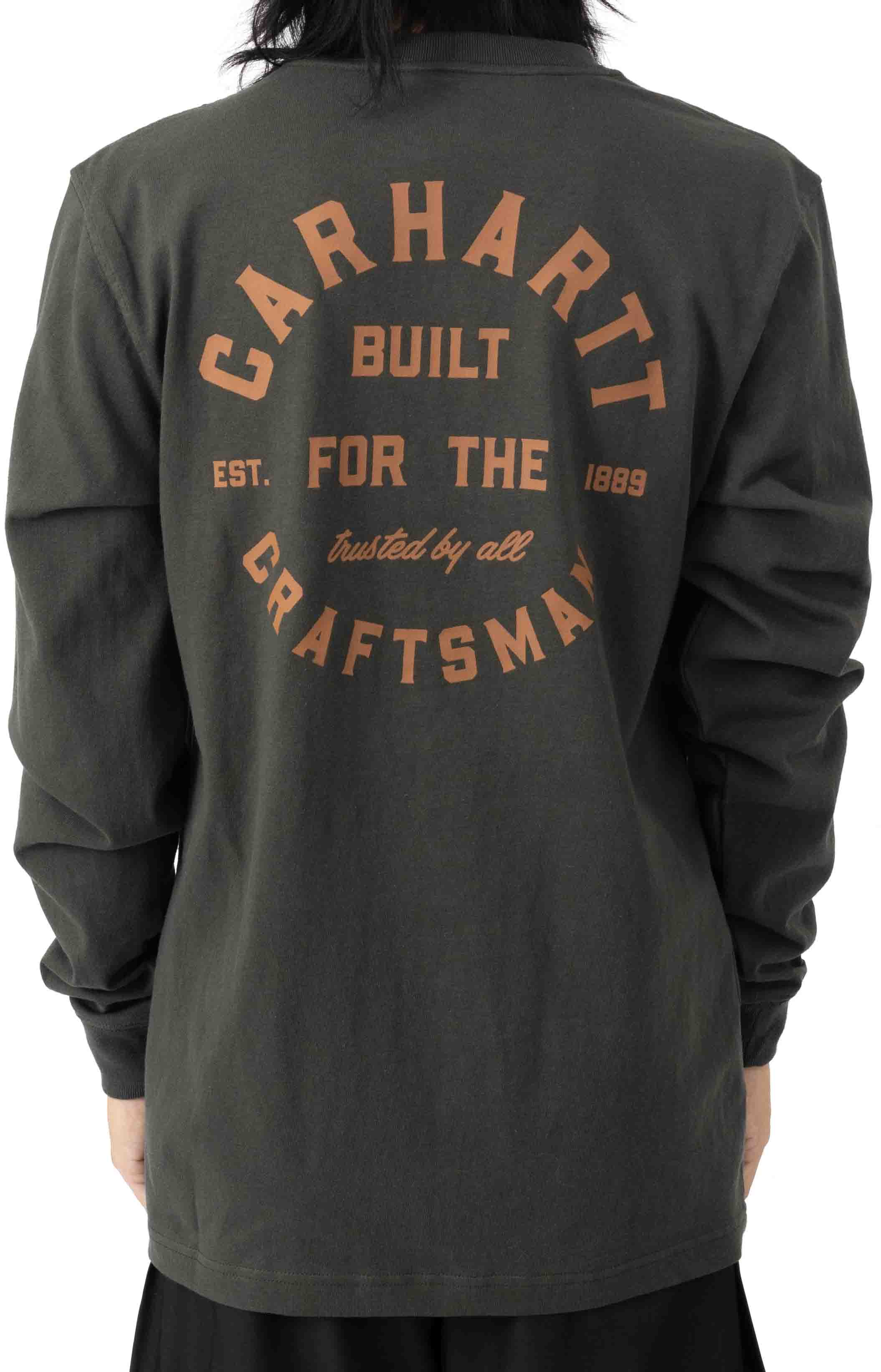 (104895) Relaxed Fit Heavyweight LS Pocket Craftsman Graphic T-Shirt - Peat