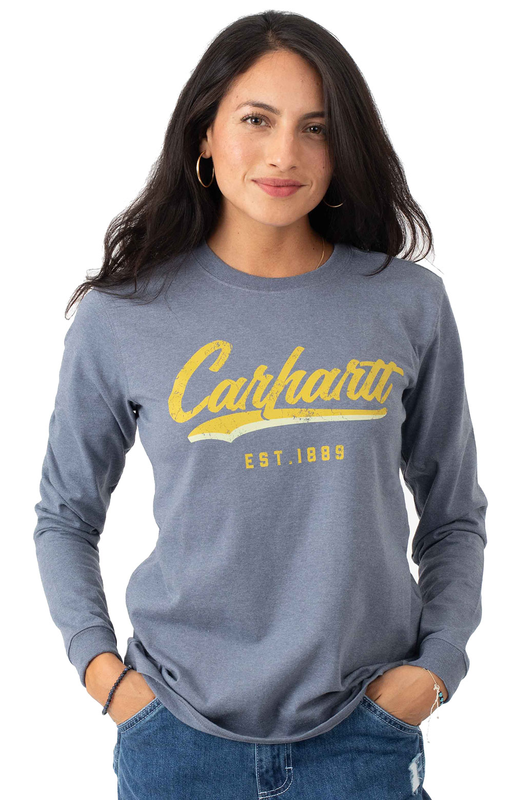 (104964) L/F Heavyweight L/S Hand-Painted Graphic T-Shirt - Folkstone Gray Heather
