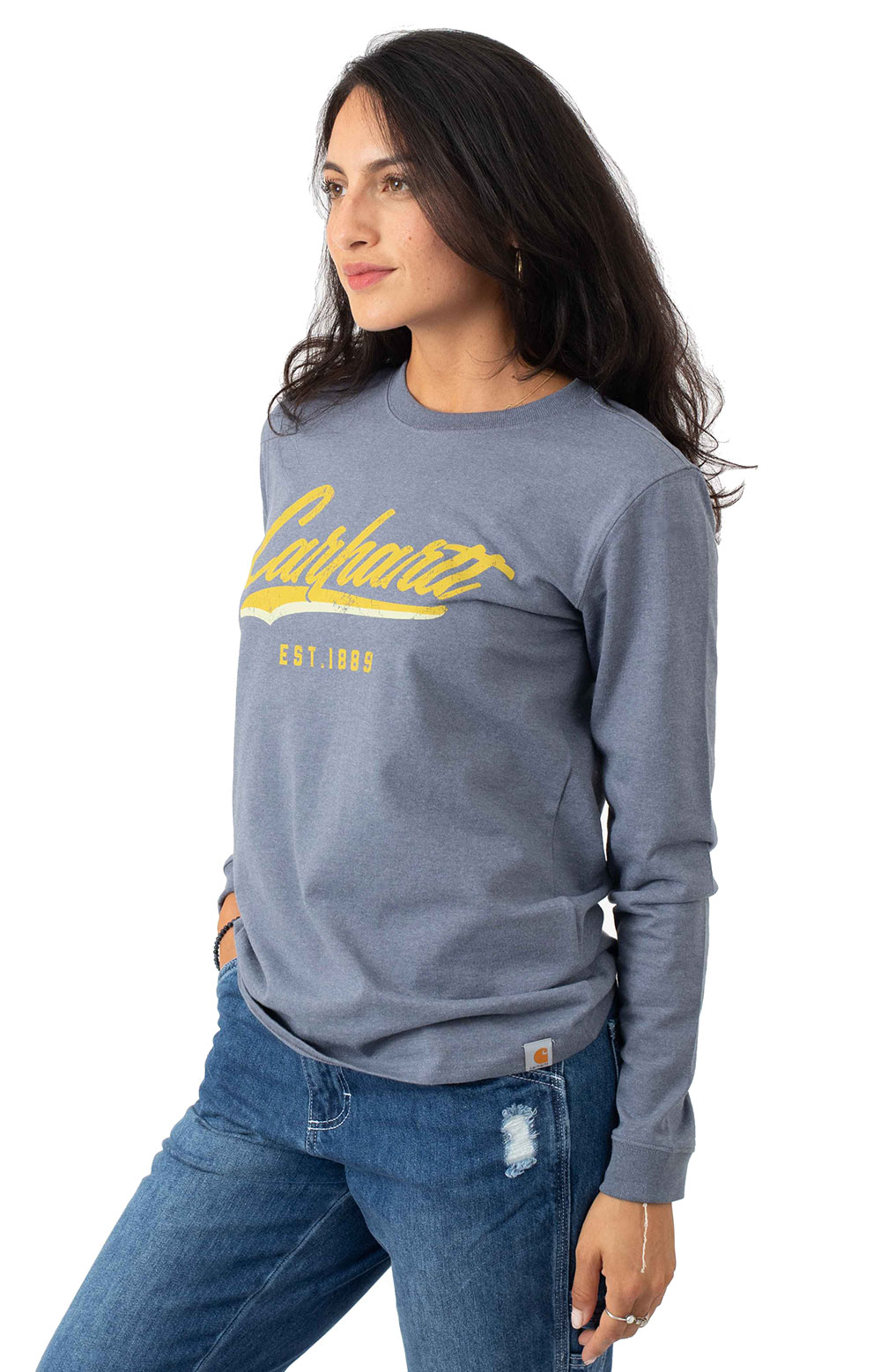 (104964) L/F Heavyweight L/S Hand-Painted Graphic T-Shirt - Folkstone Gray Heather 2
