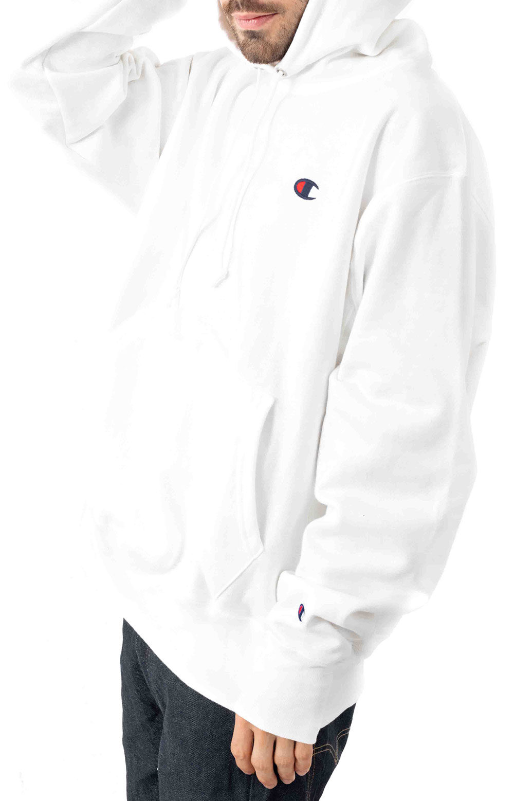 Reverse Weave Pullover Hoodie - White 2