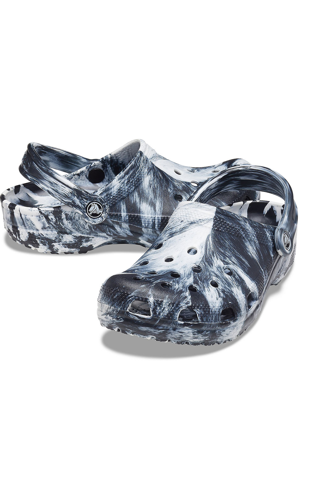 Classic Marbled Clogs - White/Black 2