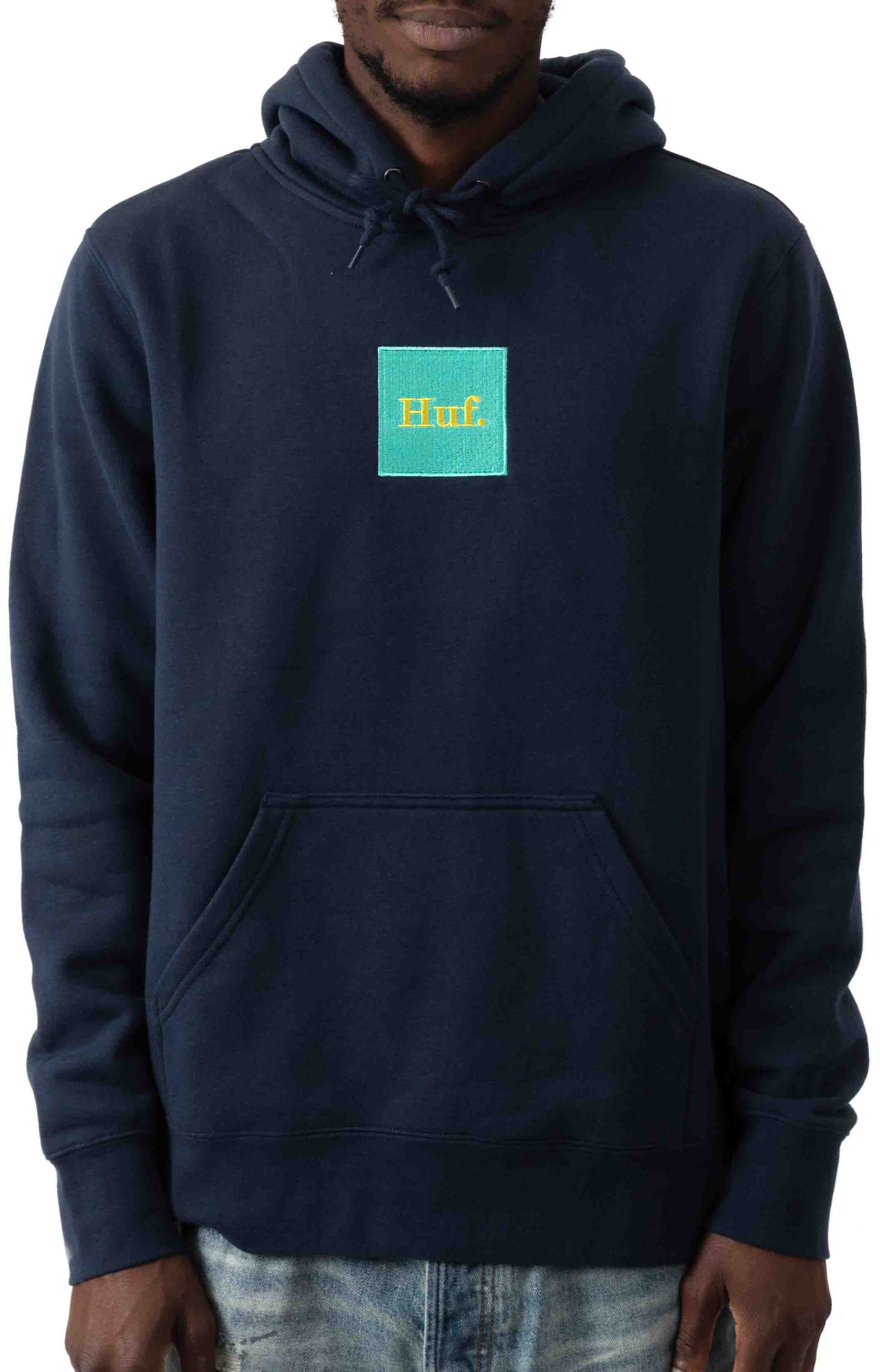 Domestic Box Embroidery Pullover Hoodie - Navy Blazer