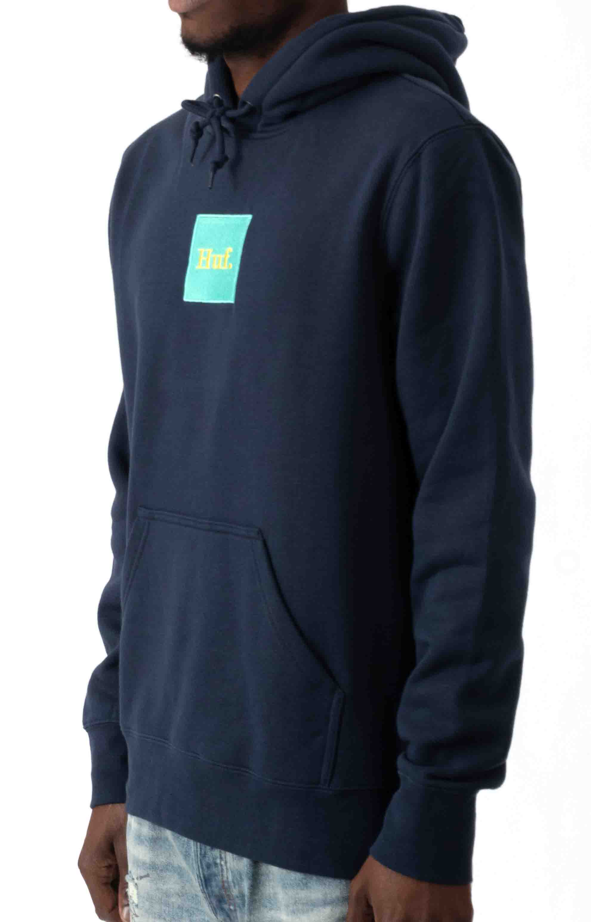Domestic Box Embroidery Pullover Hoodie - Navy Blazer  2