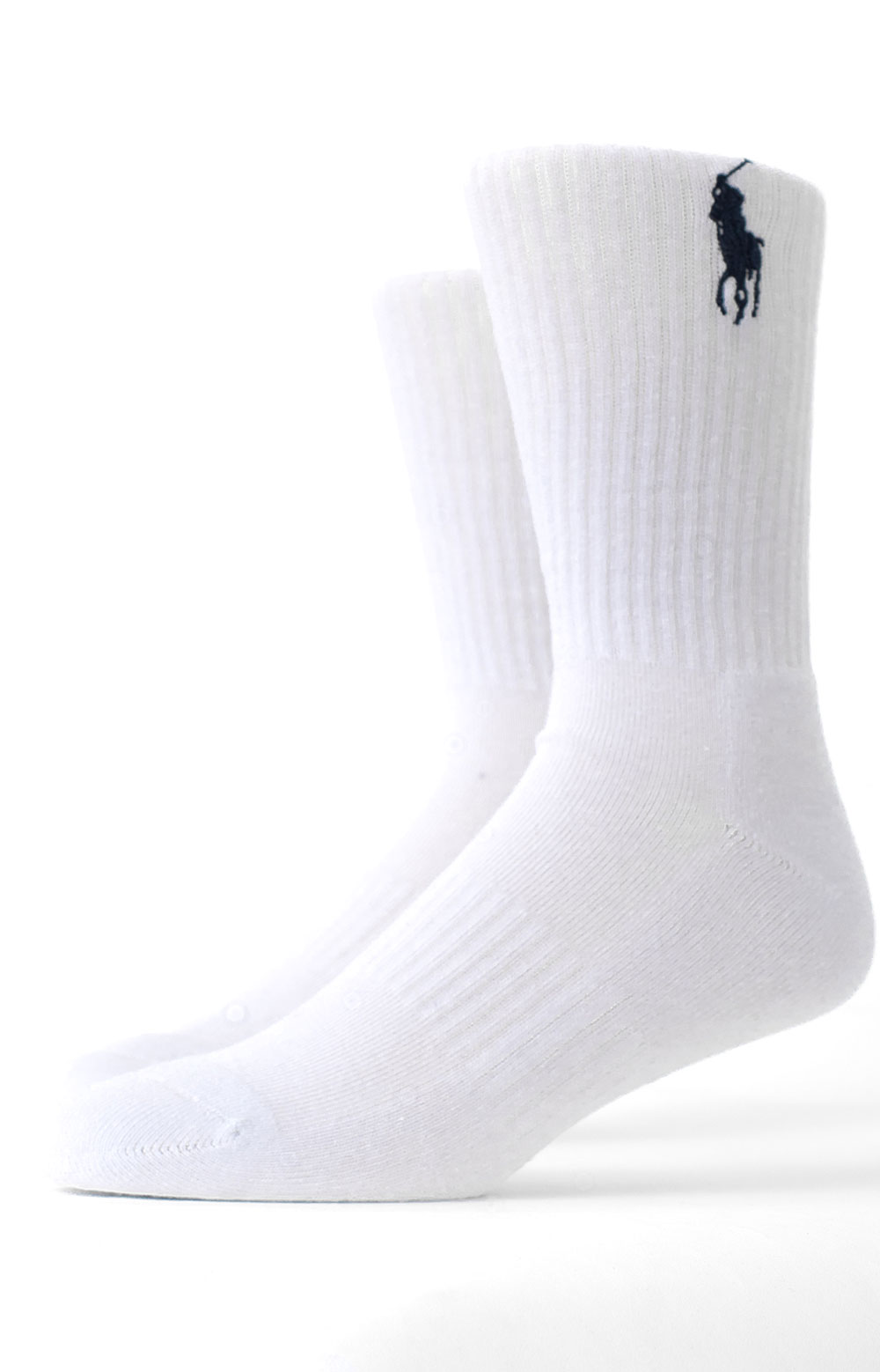 Embroidered Big Pony Crew 3 Pack Socks - Navy Assorted  3