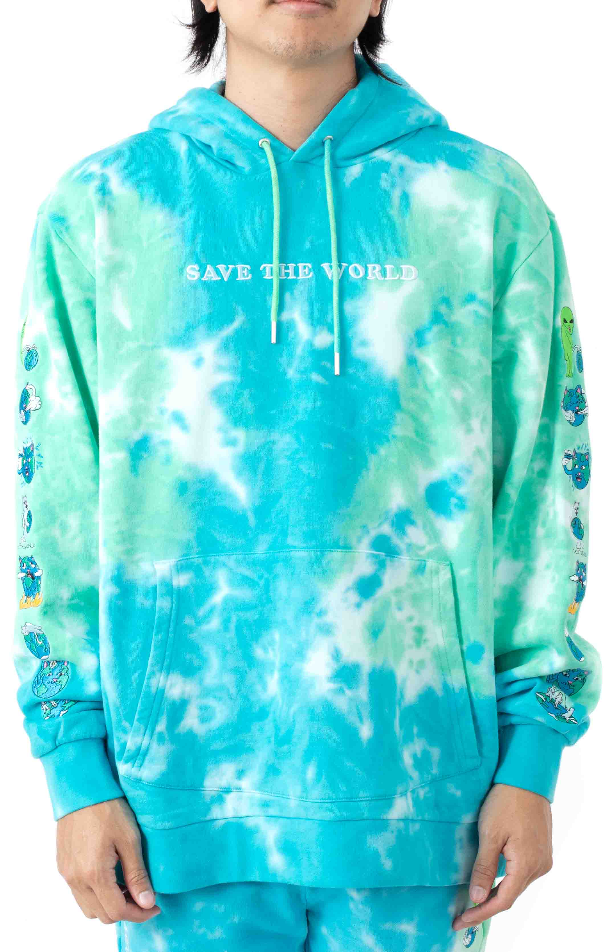 Save The World Embroidered Pullover Hoodie - Aqua/Green Tie-Dye