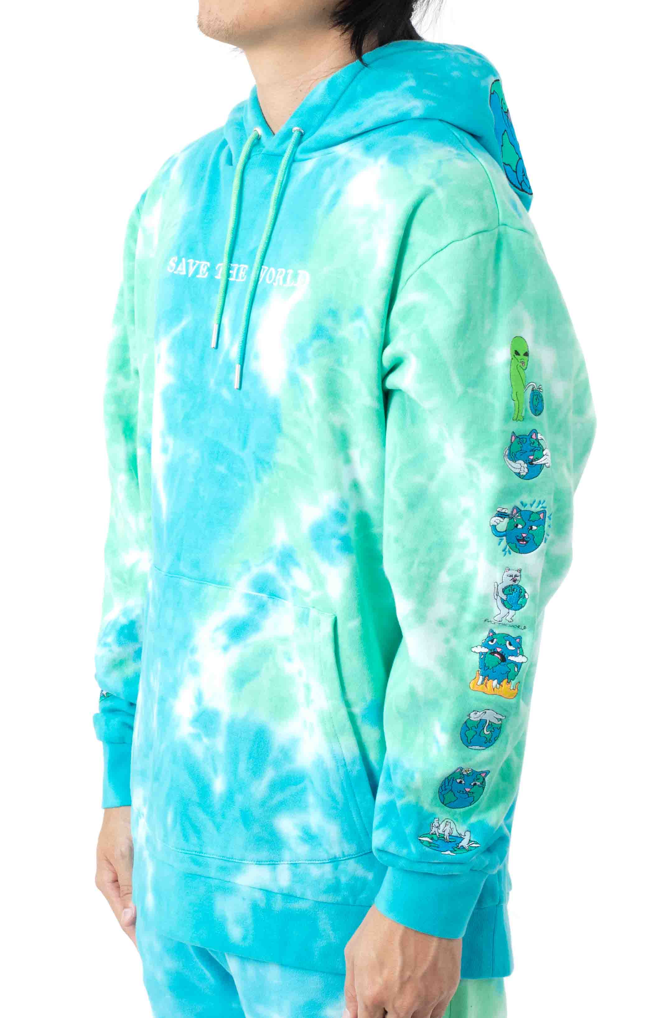 Save The World Embroidered Pullover Hoodie - Aqua/Green Tie-Dye 2