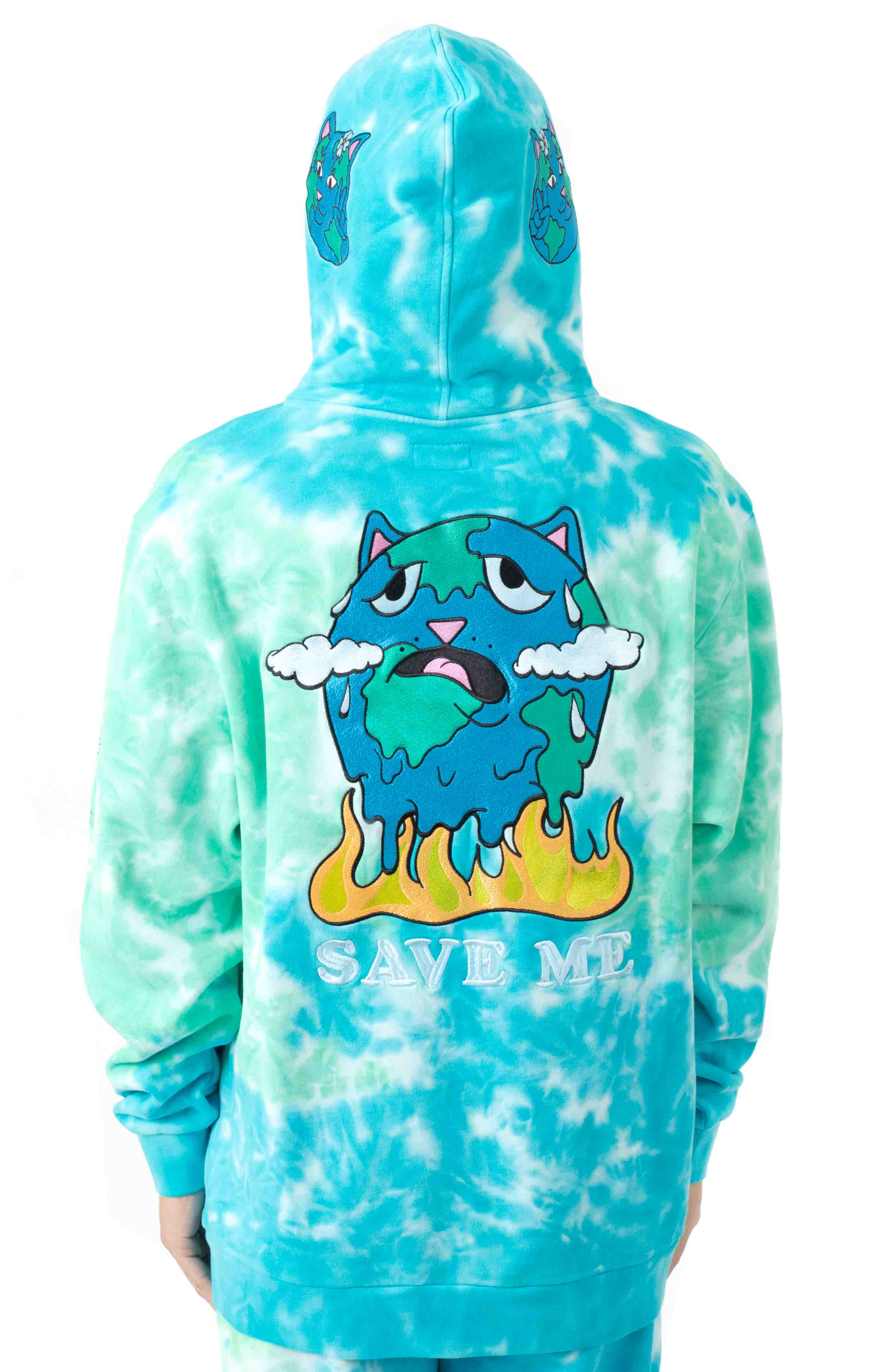Save The World Embroidered Pullover Hoodie - Aqua/Green Tie-Dye 3