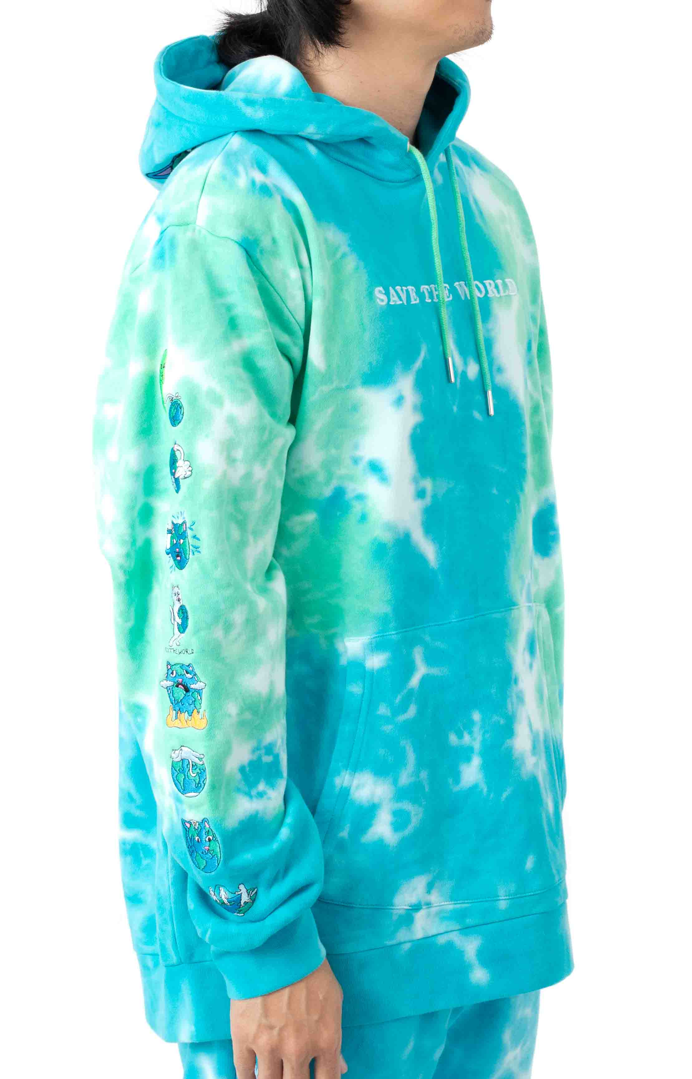 Save The World Embroidered Pullover Hoodie - Aqua/Green Tie-Dye 4